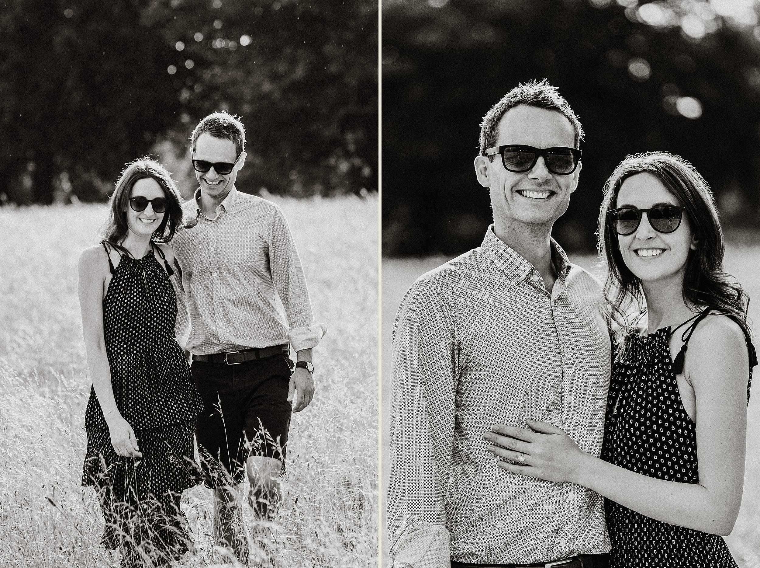 Engagement Shoot on Clifton Downs - Black and White portraits of the engaged couple