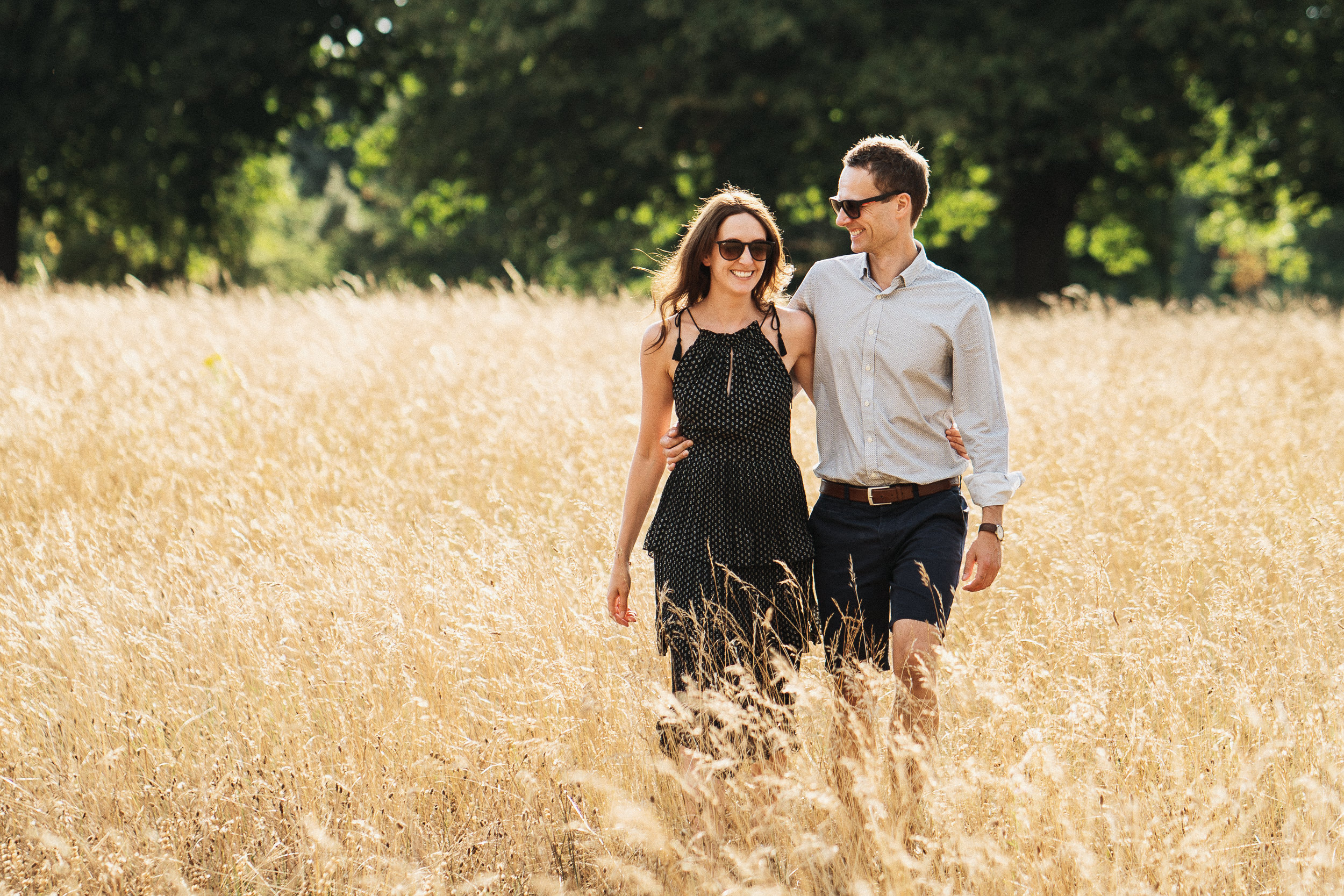 Engagement Shoot on Clifton Downs - Portrait of the couple walking on the Downs