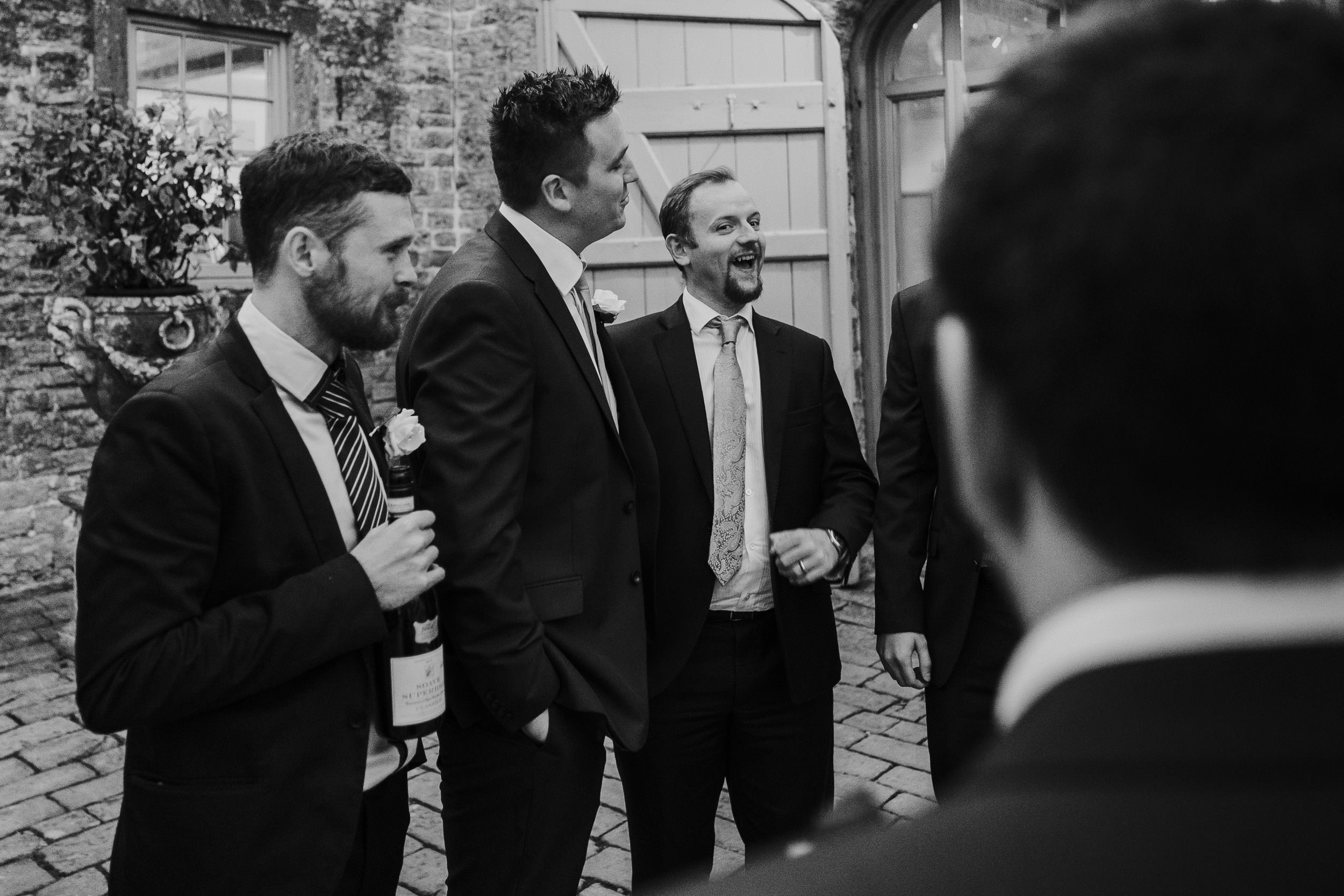 Pennard House Wedding - Groom and Friends