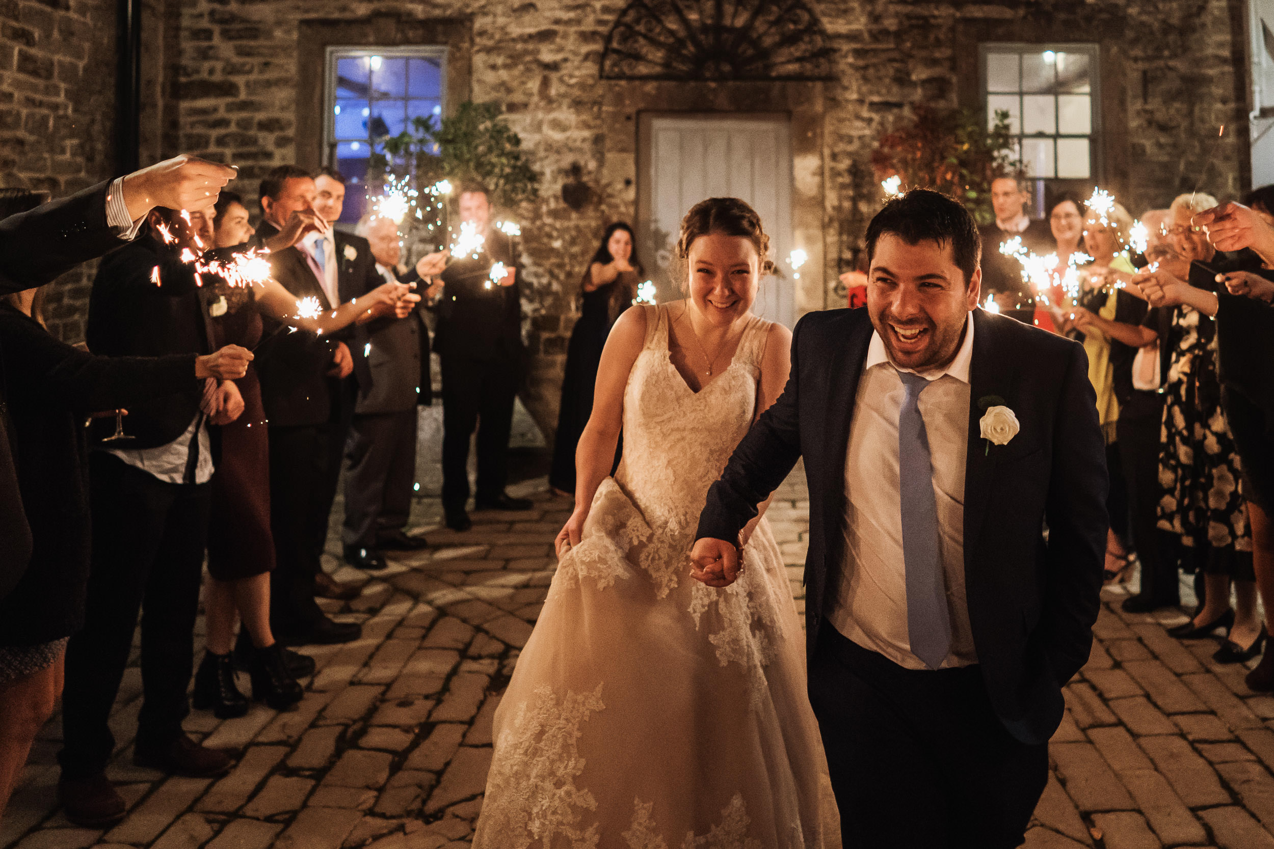 Pennard House Wedding - Bride and Groom Sparkler Exit