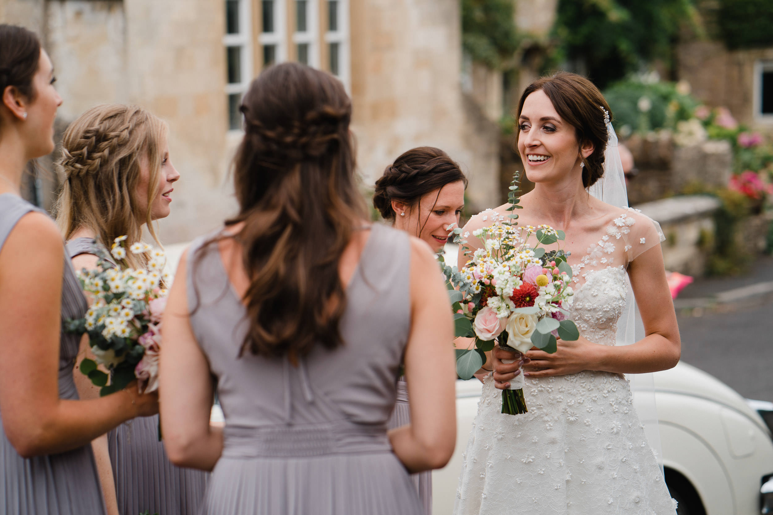 Orchardleigh Estate Wedding - Bride and Bridesmaids outside the church