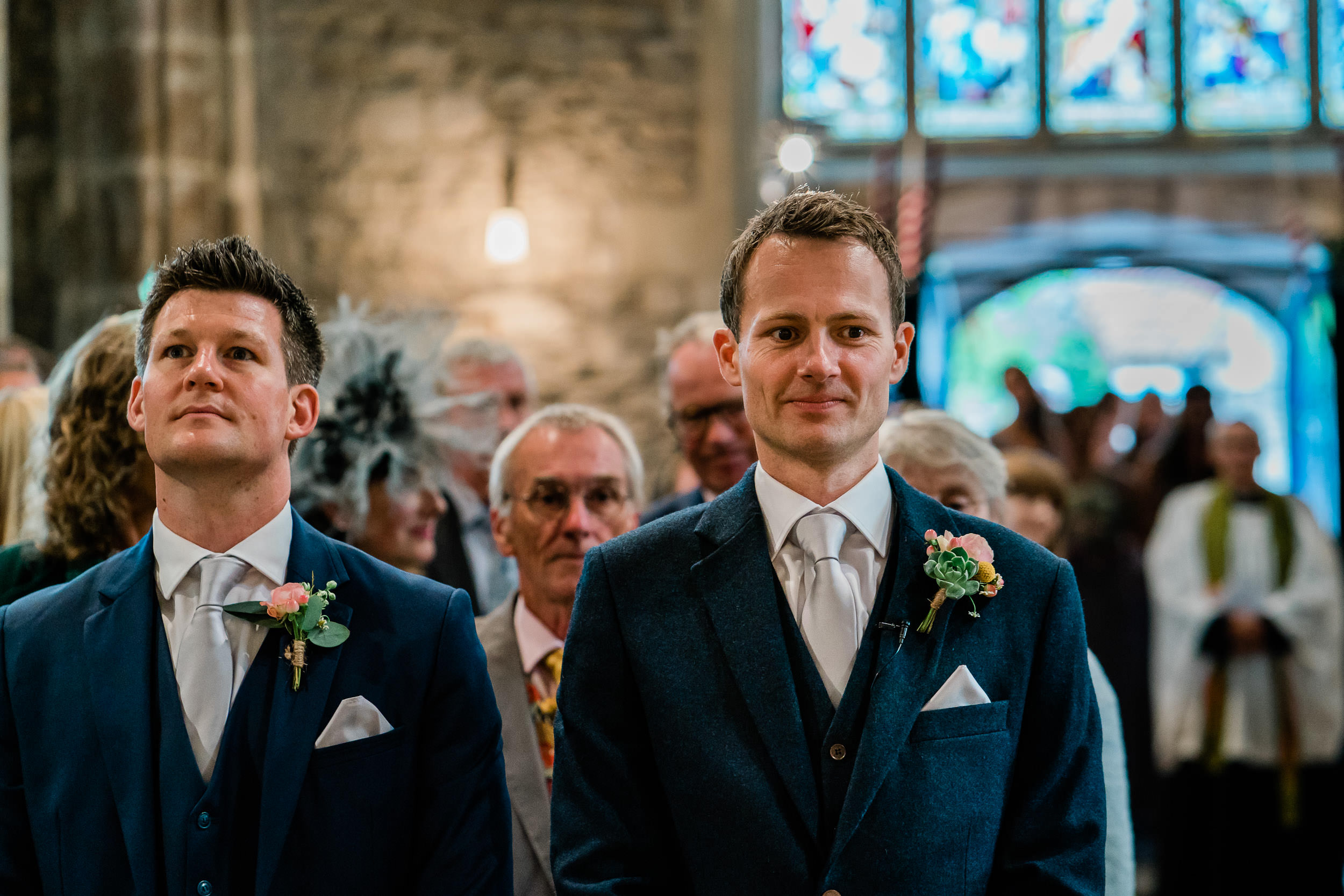 Orchardleigh Estate Wedding - Groom waiting in Church