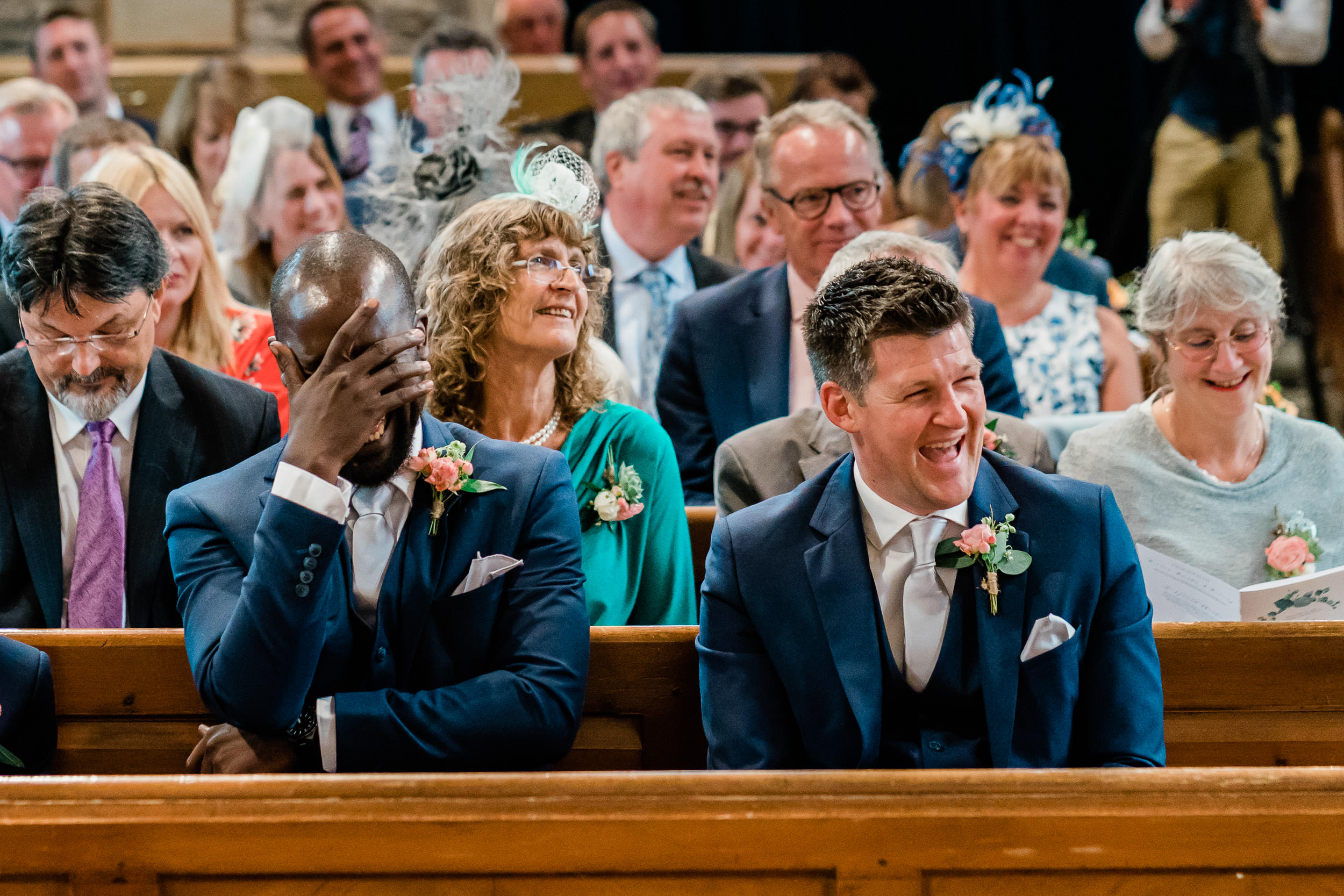 Orchardleigh Estate Wedding - Best Men laughing during the Wedding Ceremony
