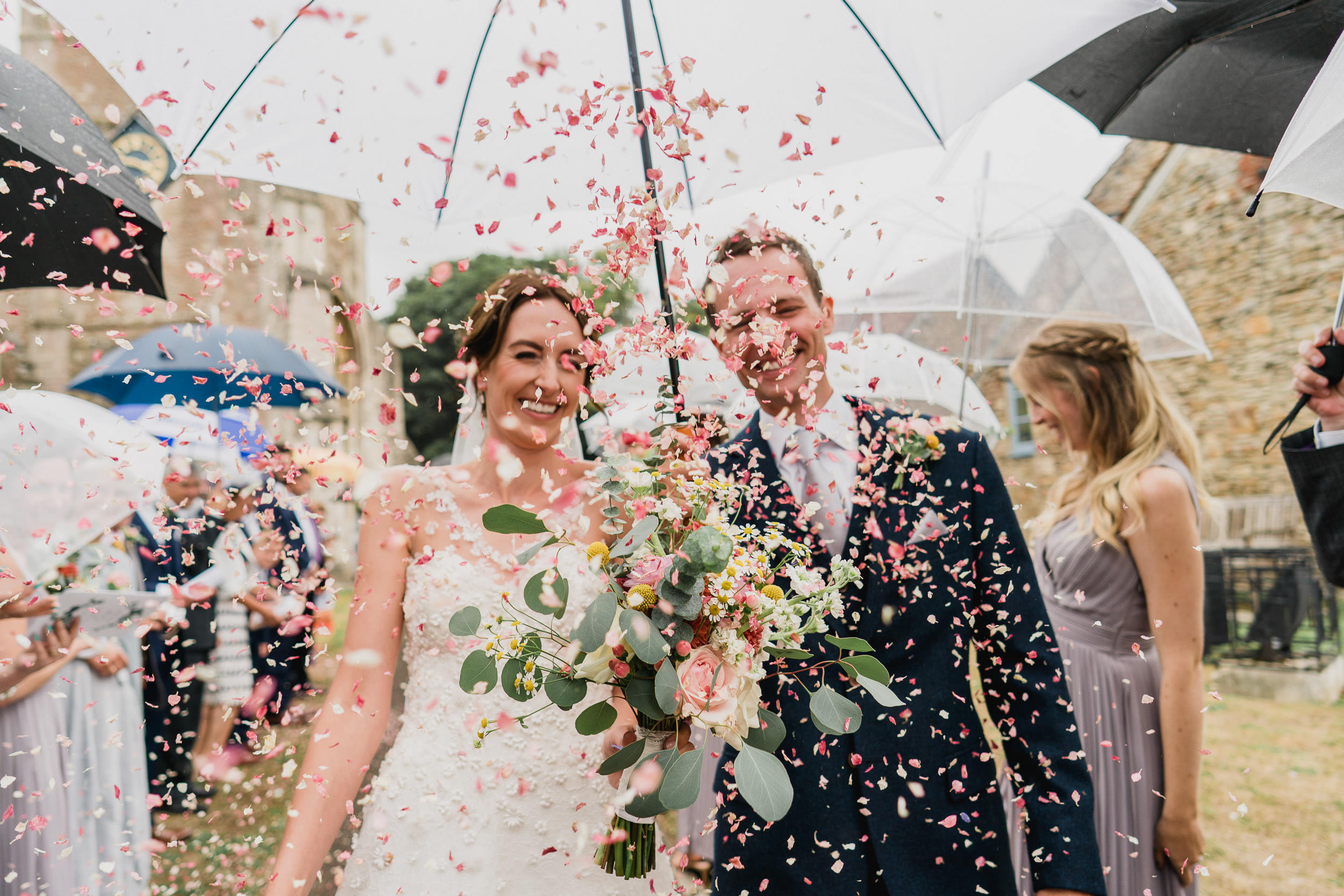 Orchardleigh Estate Wedding - Bride and Groom Confetti Shot