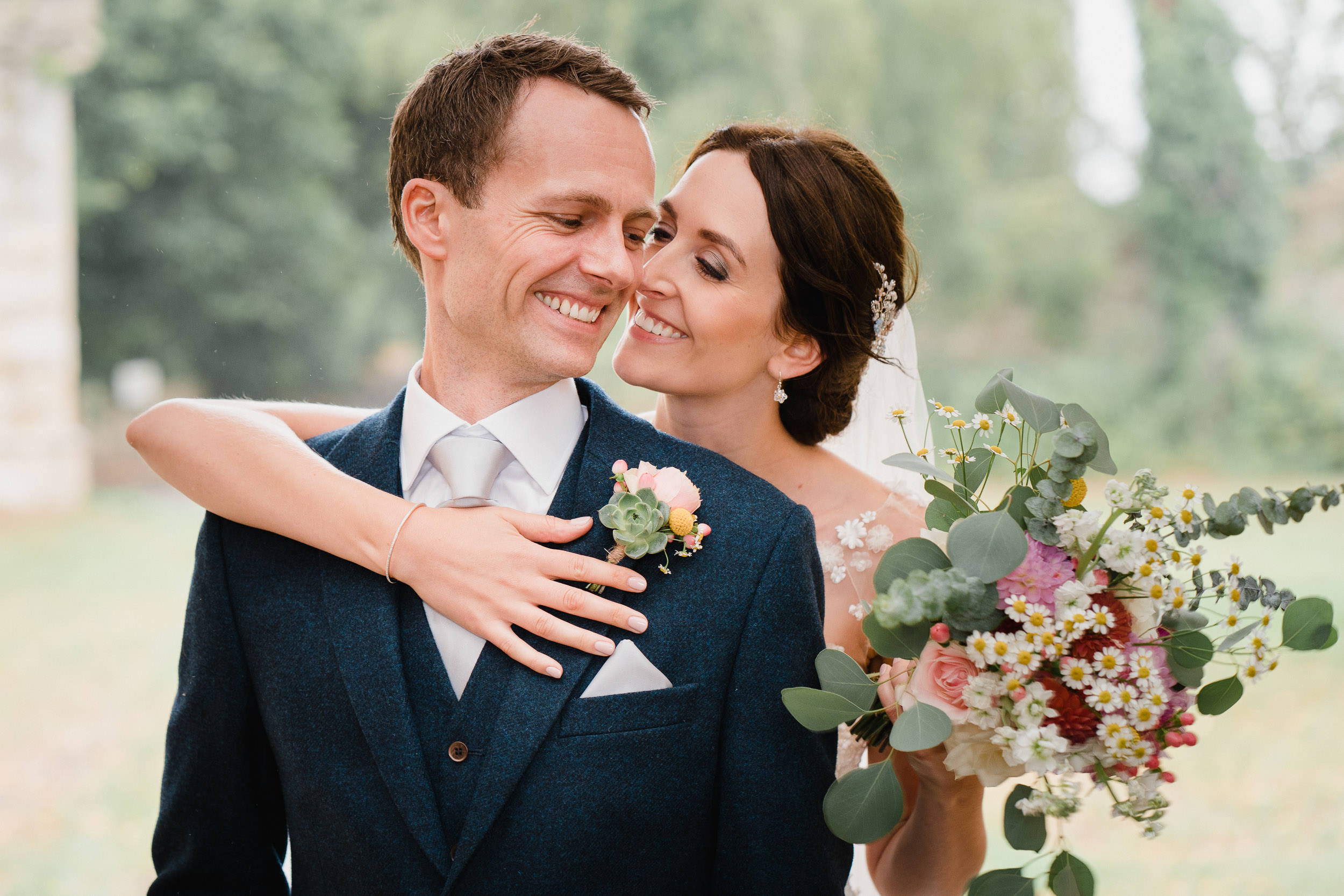 Orchardleigh Estate Wedding - Portrait of the Bride and Groom with the Bouquet