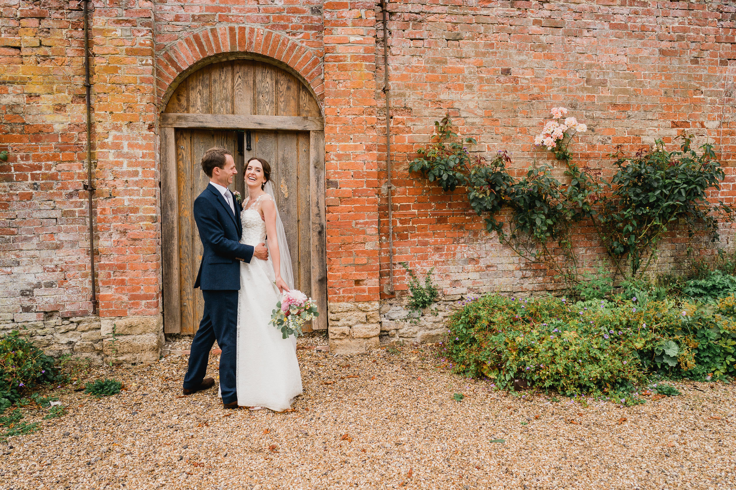 Orchardleigh Estate Wedding - Portrait of Bride and Groom in the Walled Garden