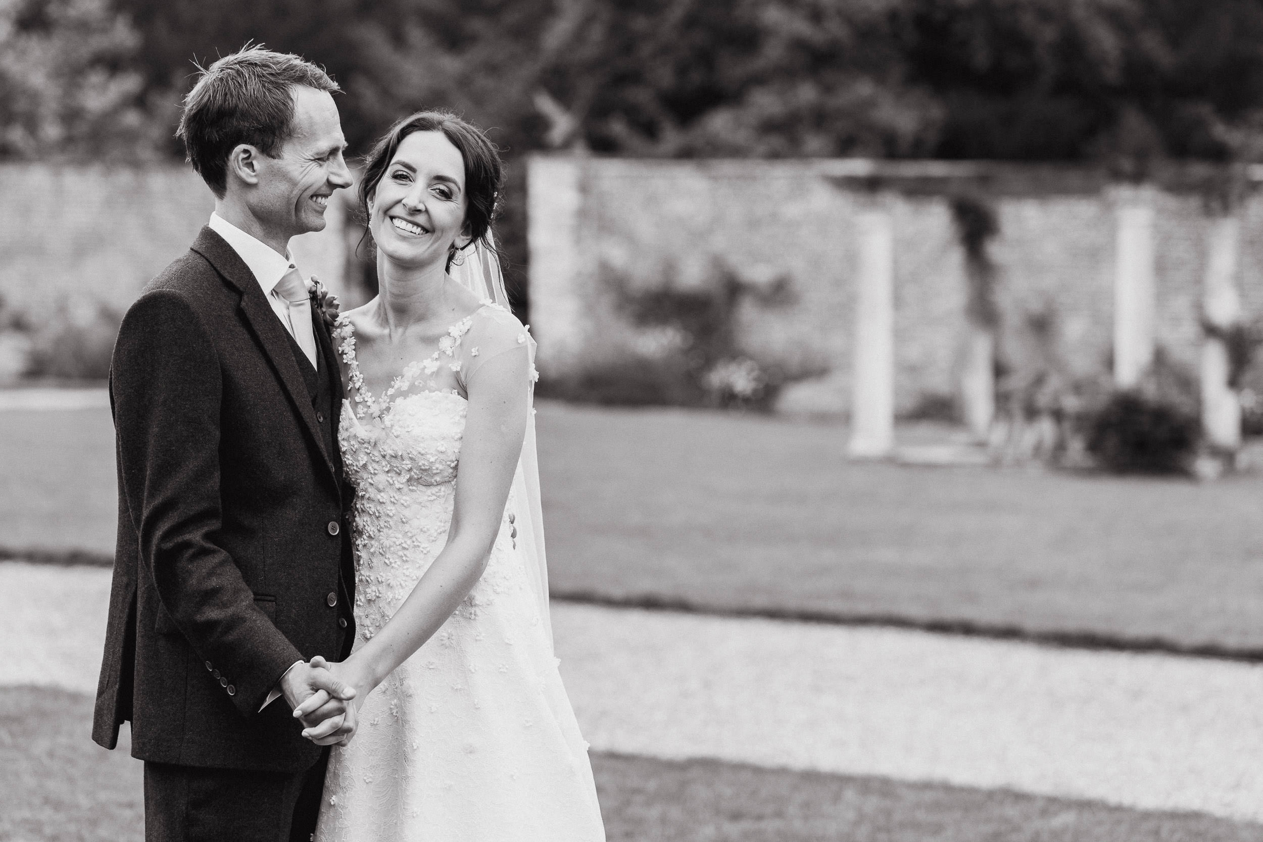 Orchardleigh Estate Wedding - Portrait of the Bride and Groom in the Walled Garden