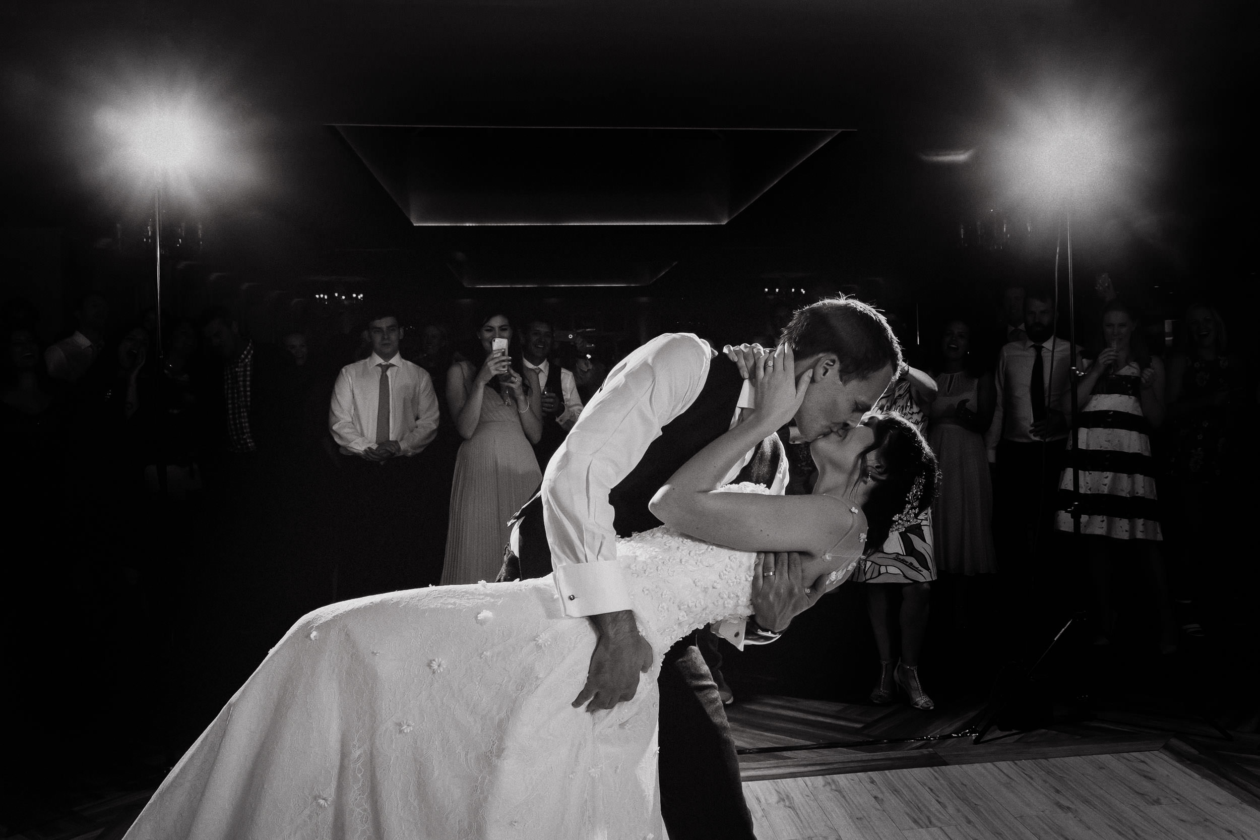 Orchardleigh Estate Wedding - Bride and Groom kiss during the First Dance