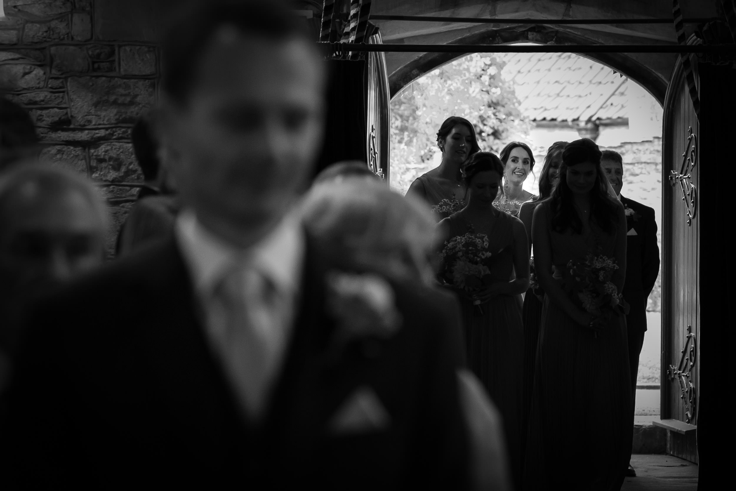Orchardleigh Estate Wedding - Bride walking down the Aisle towards Groom