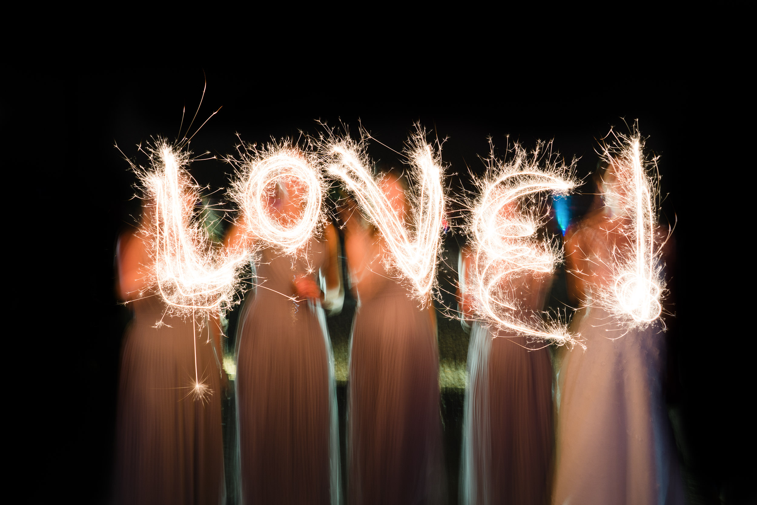 Orchardleigh Estate Wedding - Bridesmaids with Sparklers during the Evening Reception