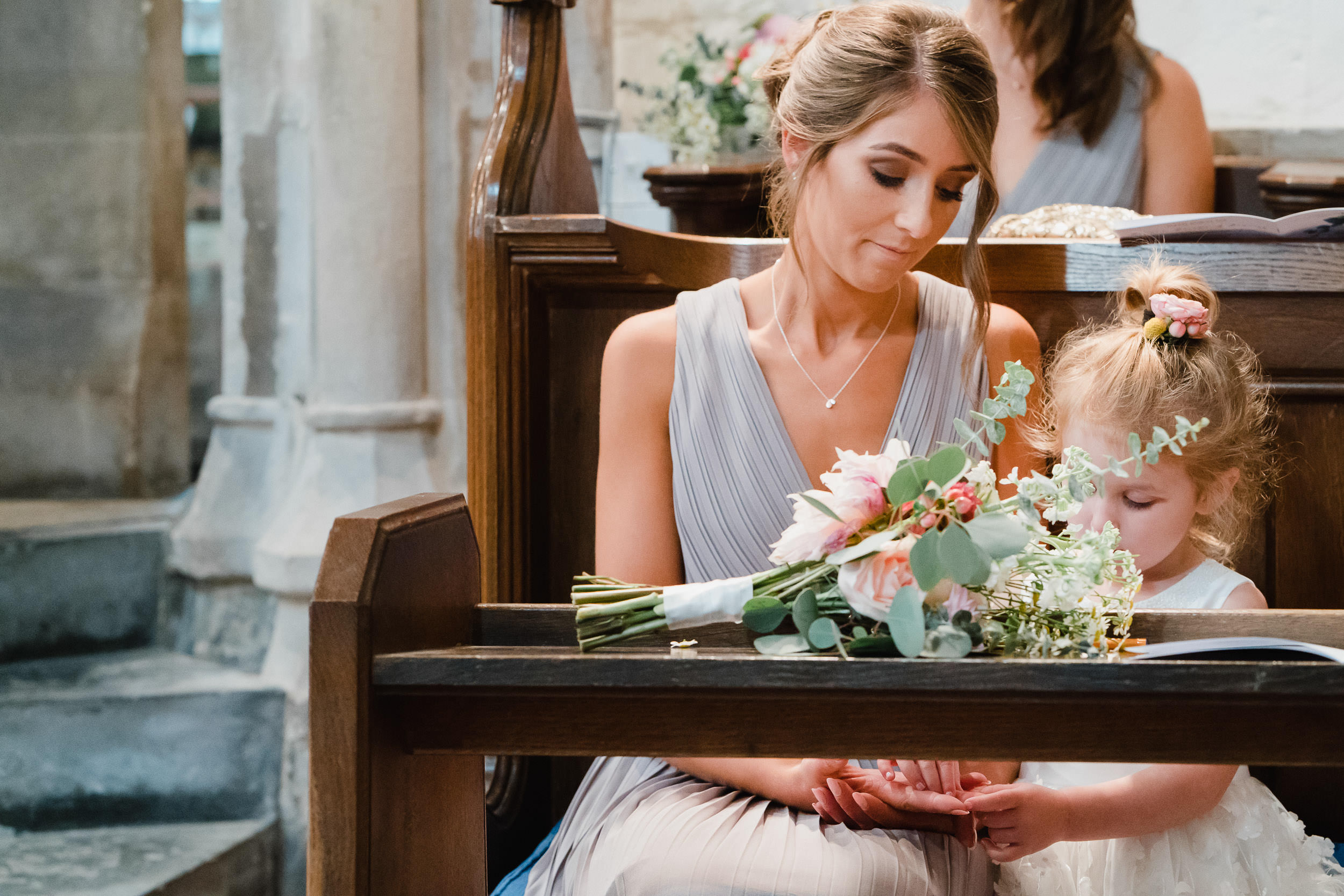 Orchardleigh Estate Wedding - Bridesmaid and Flower Girl during the Church Service