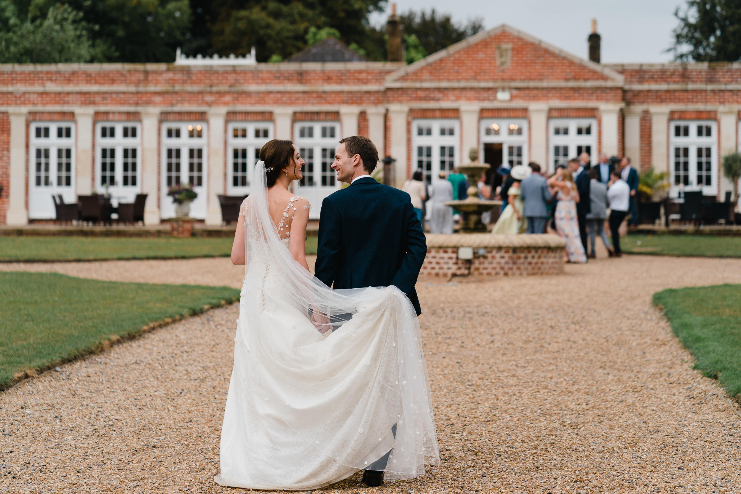 Orchardleigh Estate Wedding - Bride and Groom in front of the Orangery