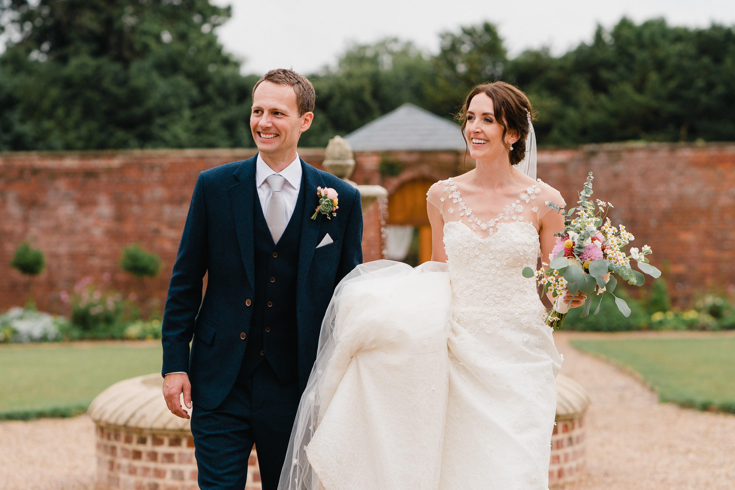 Orchardleigh Estate Wedding - Bride and Groom in the Walled Garden