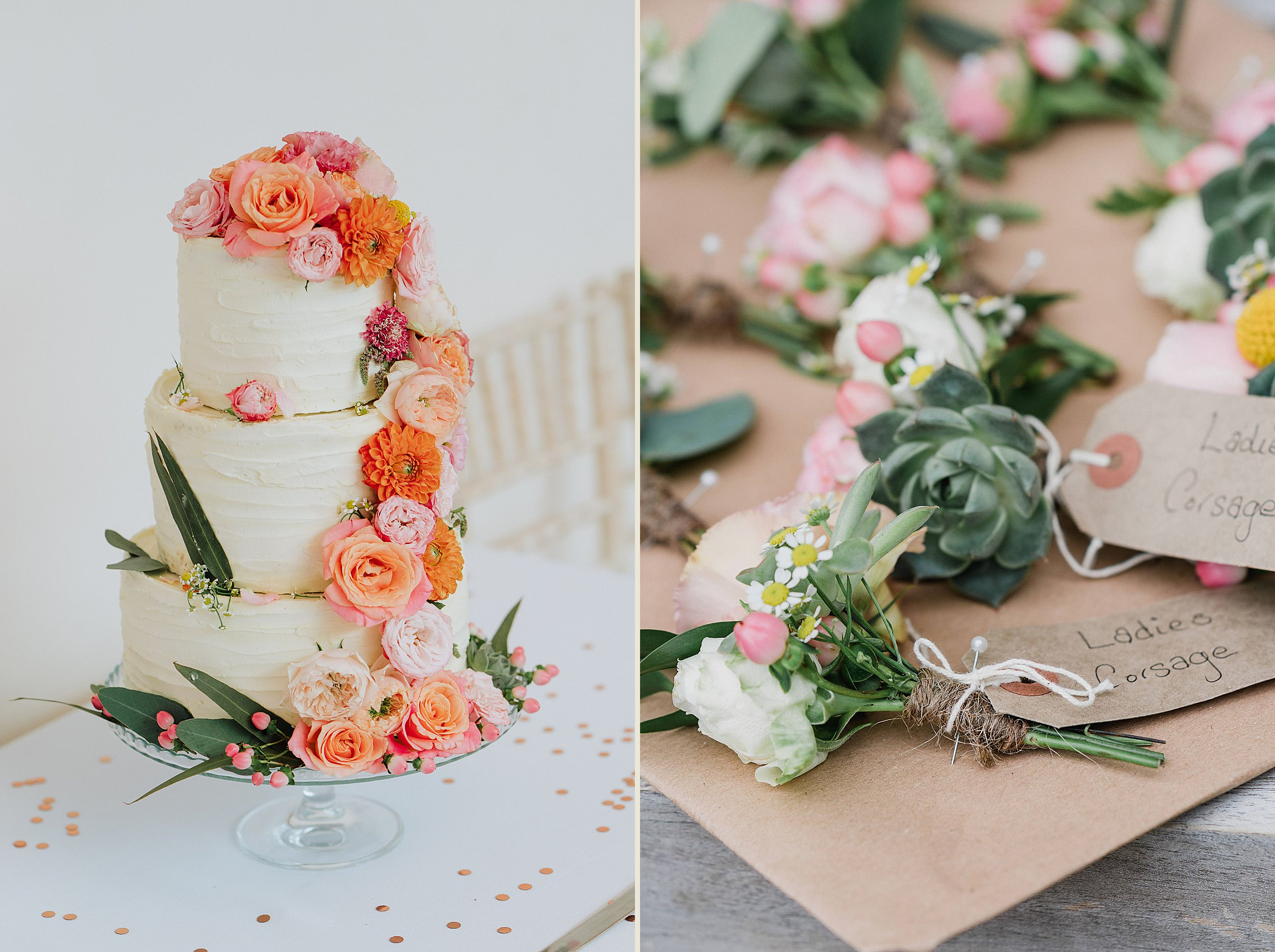 Orchardleigh Estate Wedding - Wedding Cake and Buttonhole flowers
