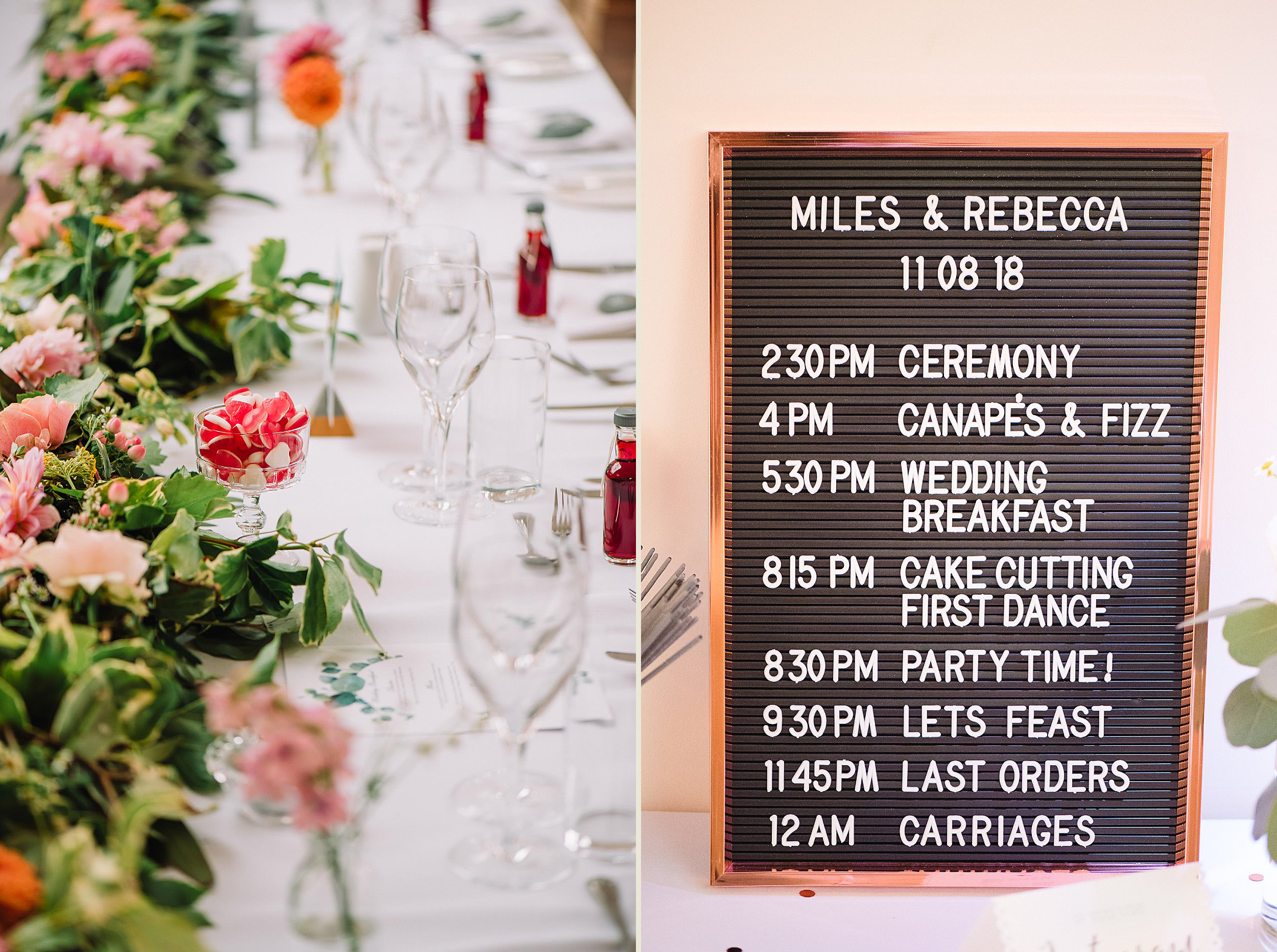 Orchardleigh Estate Wedding - Table Settings and Wedding Timetable