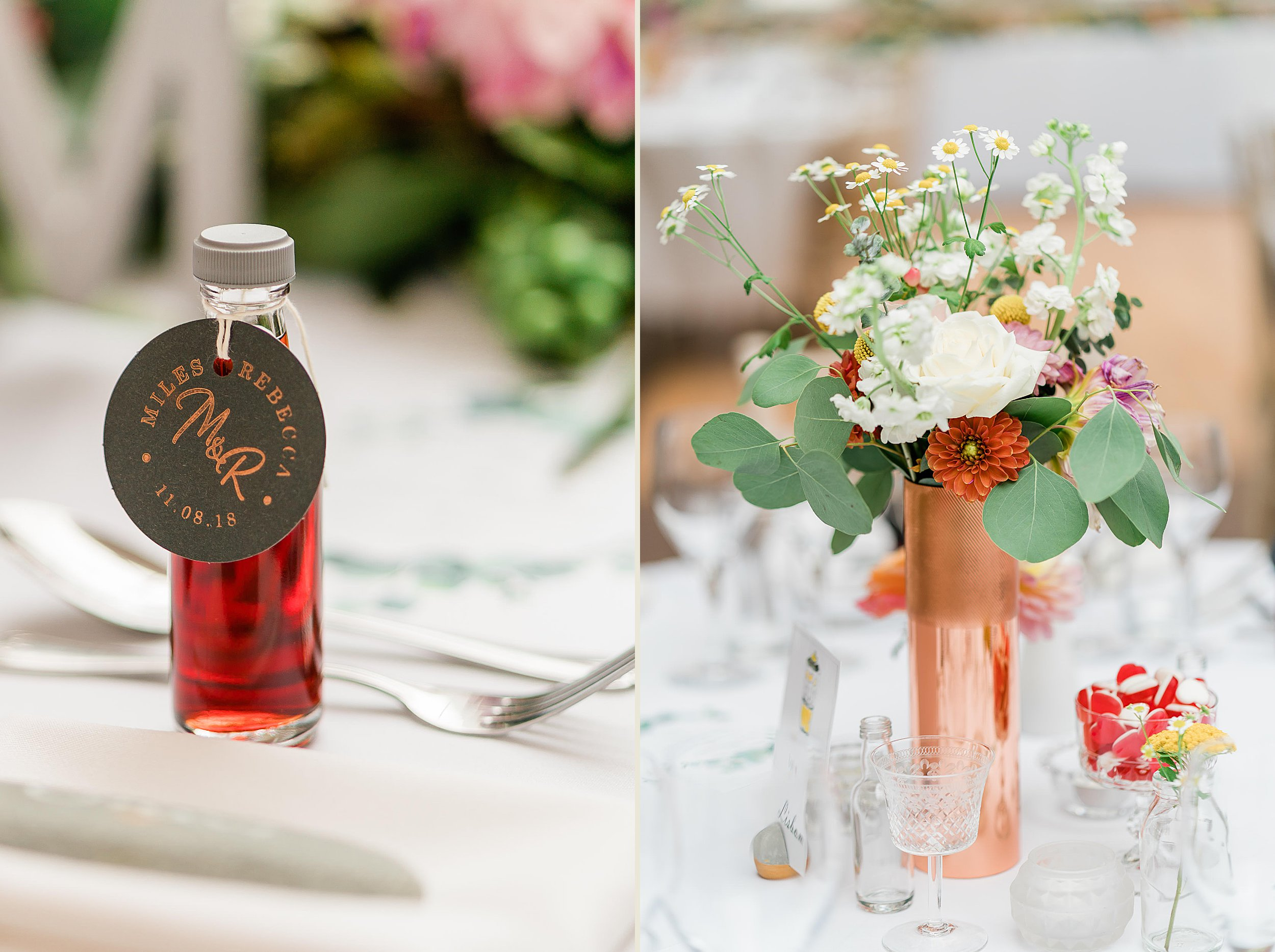 Orchardleigh Estate Wedding - Table Settings and Flower Displays