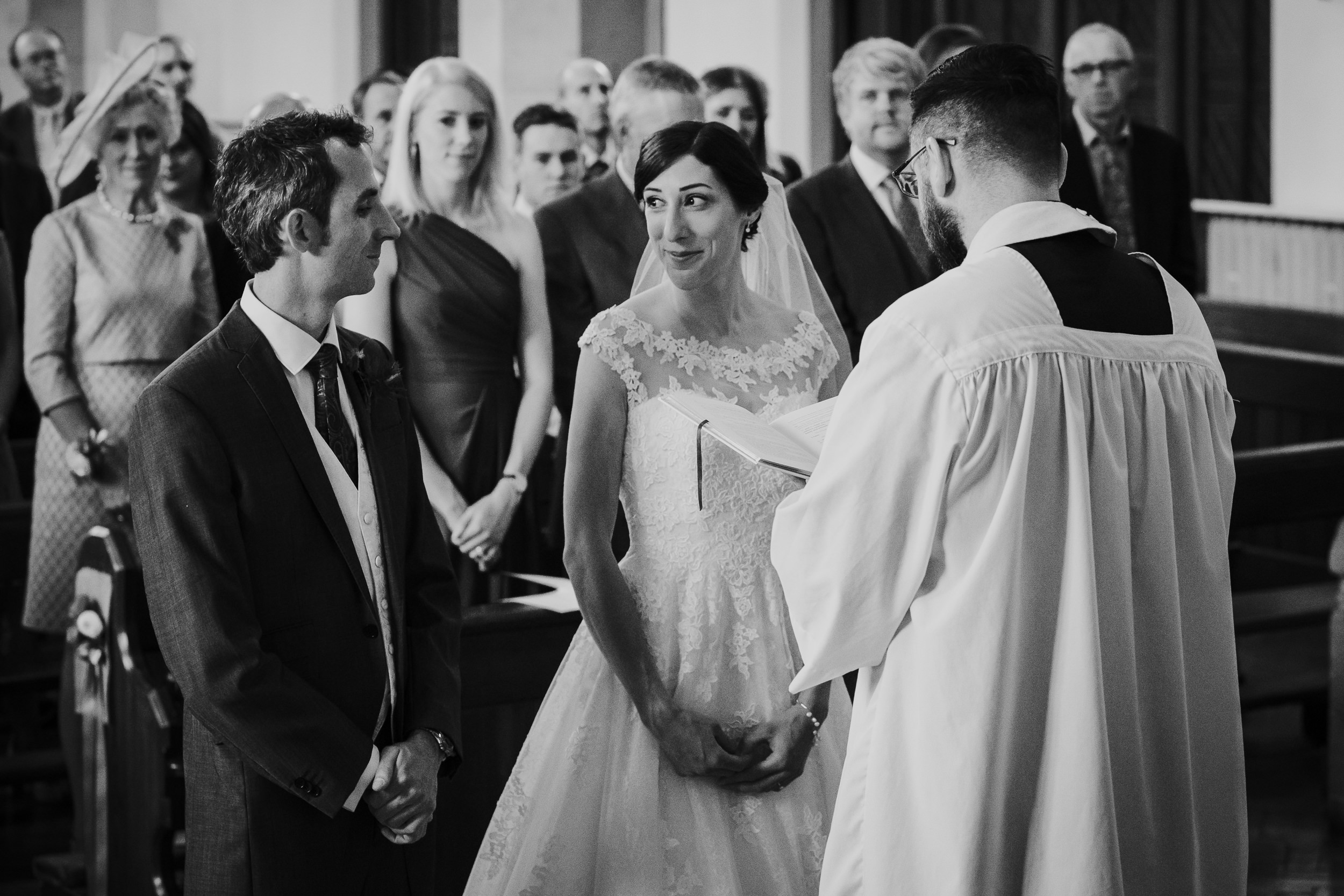 The Bride and Groom during the wedding ceremony