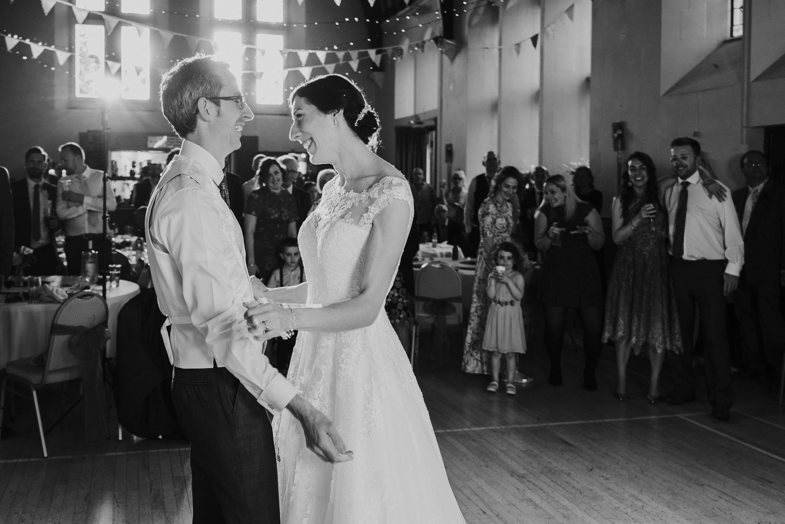 Westbury on Trym Wedding - The Bride and Groom share their first dance in the village hall