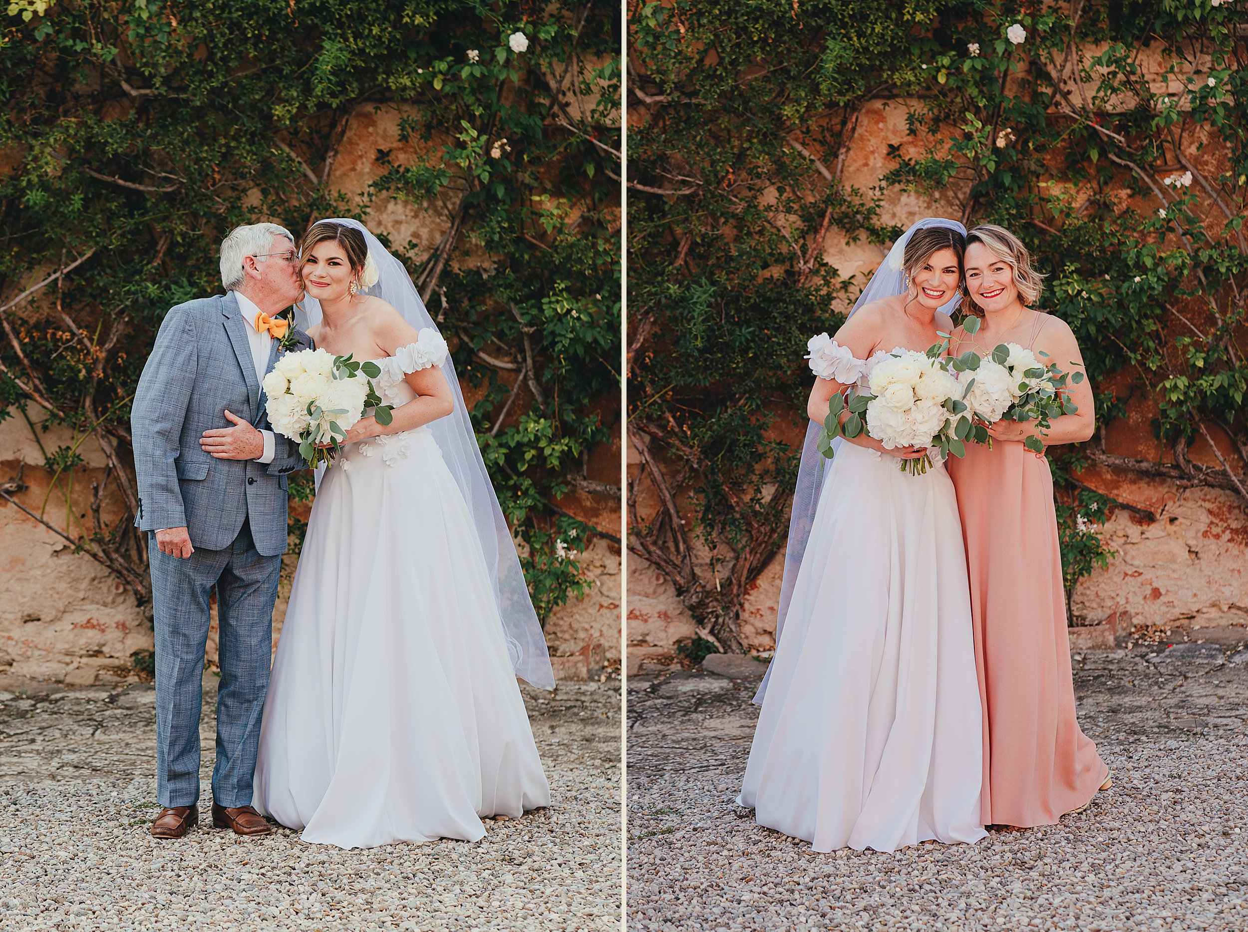 Tuscan Villa Wedding - Portraits of the Bride and her Father and Bridesmaid