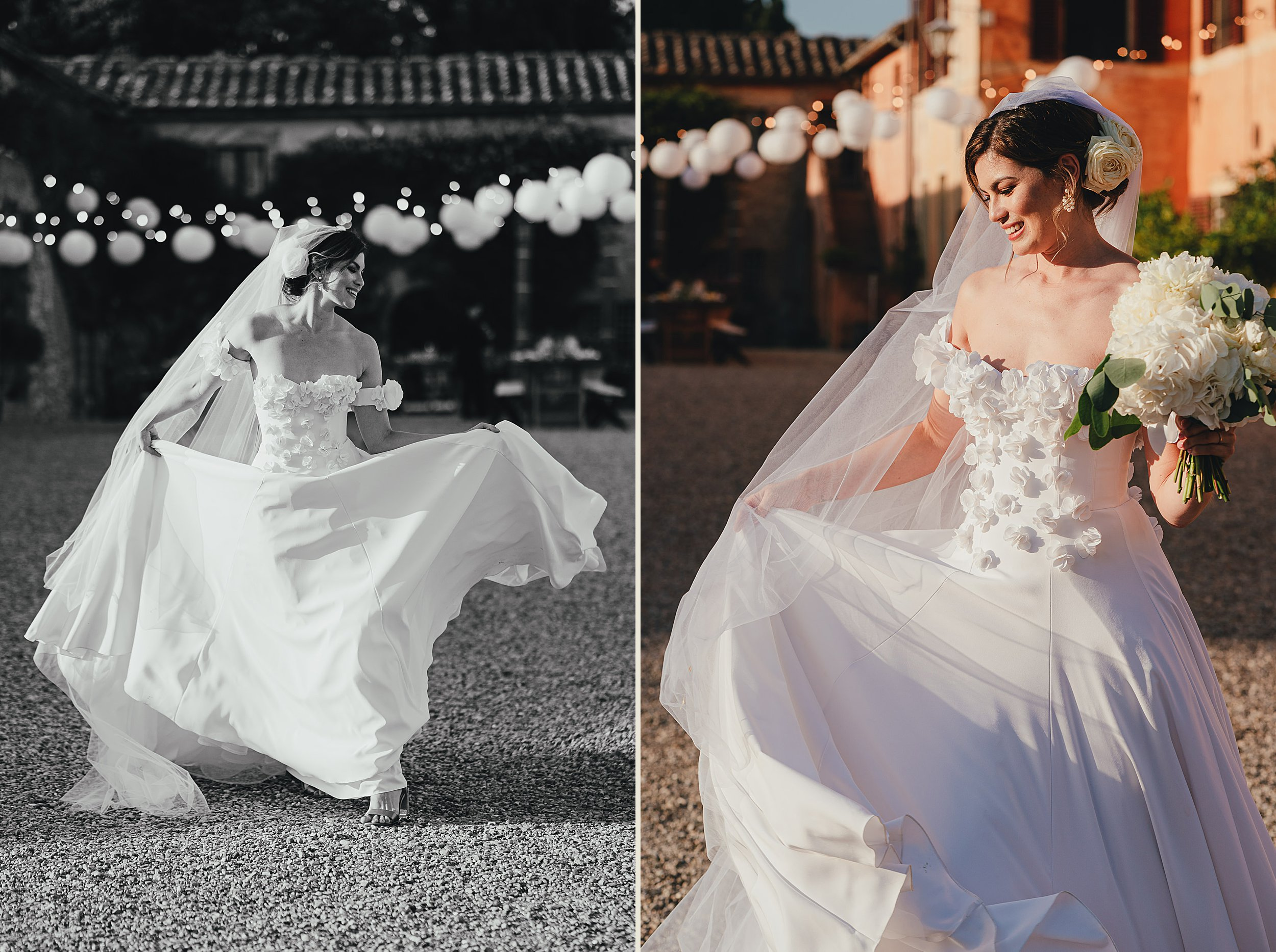 Tuscan Villa Wedding - Portraits of the Bride dancing at Villa Catignano