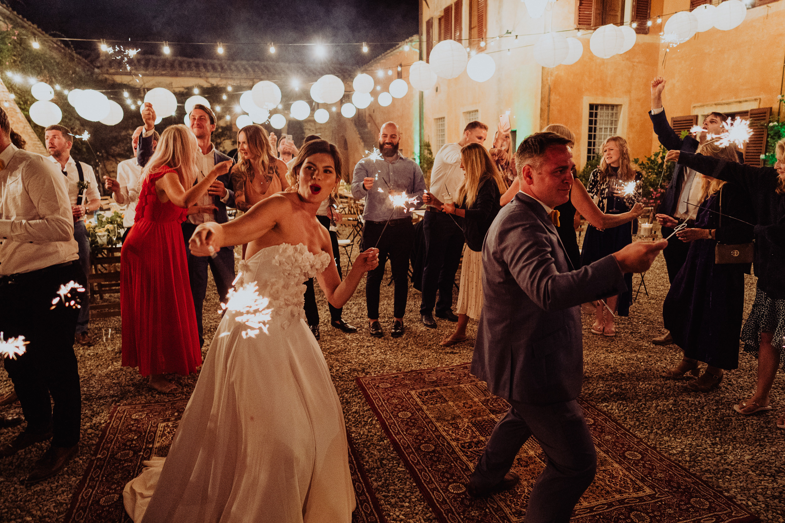 Tuscan Villa Wedding - The Bride and Groom with sparklers