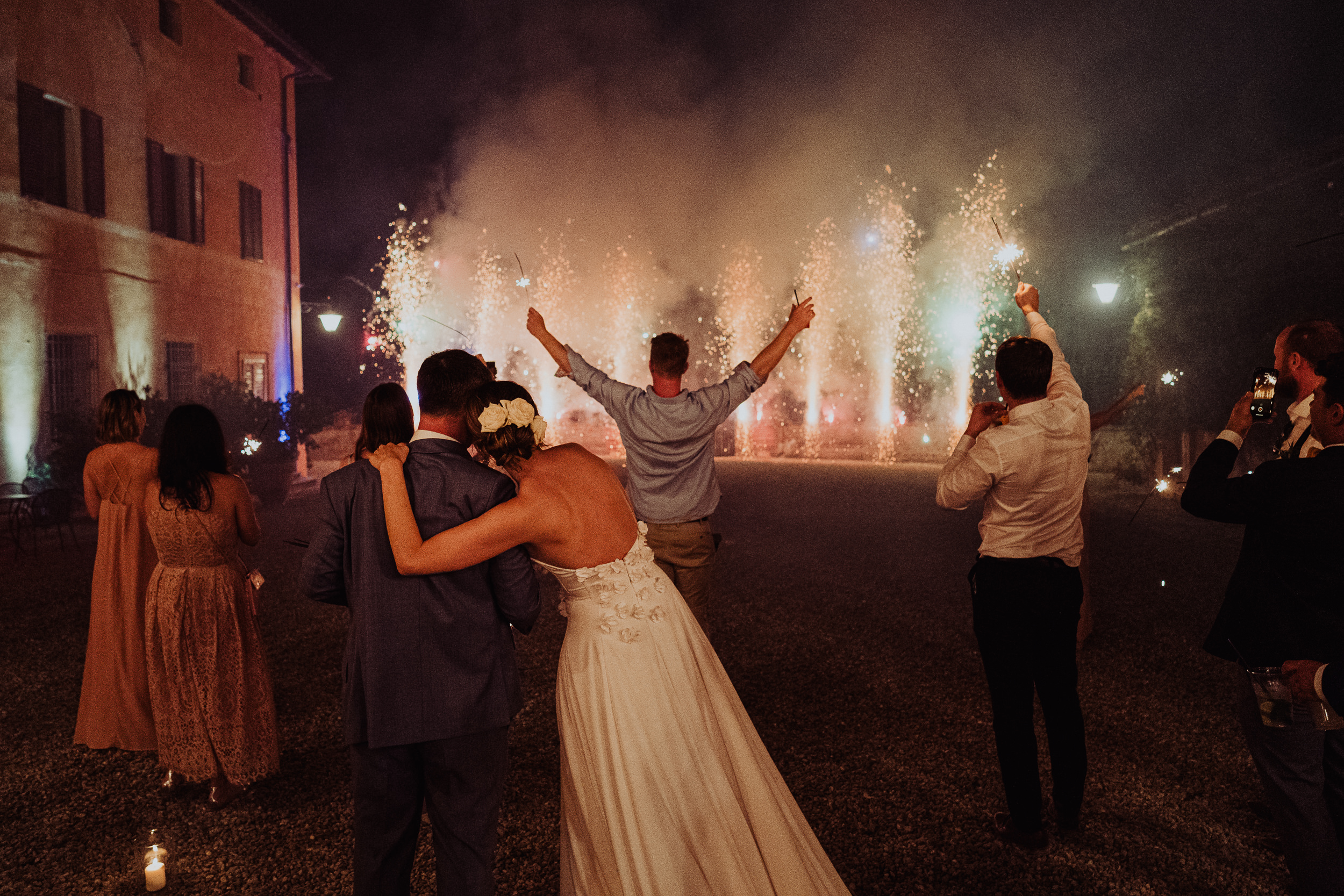 Tuscan Villa Wedding - The Bride and Groom watch the fireworks