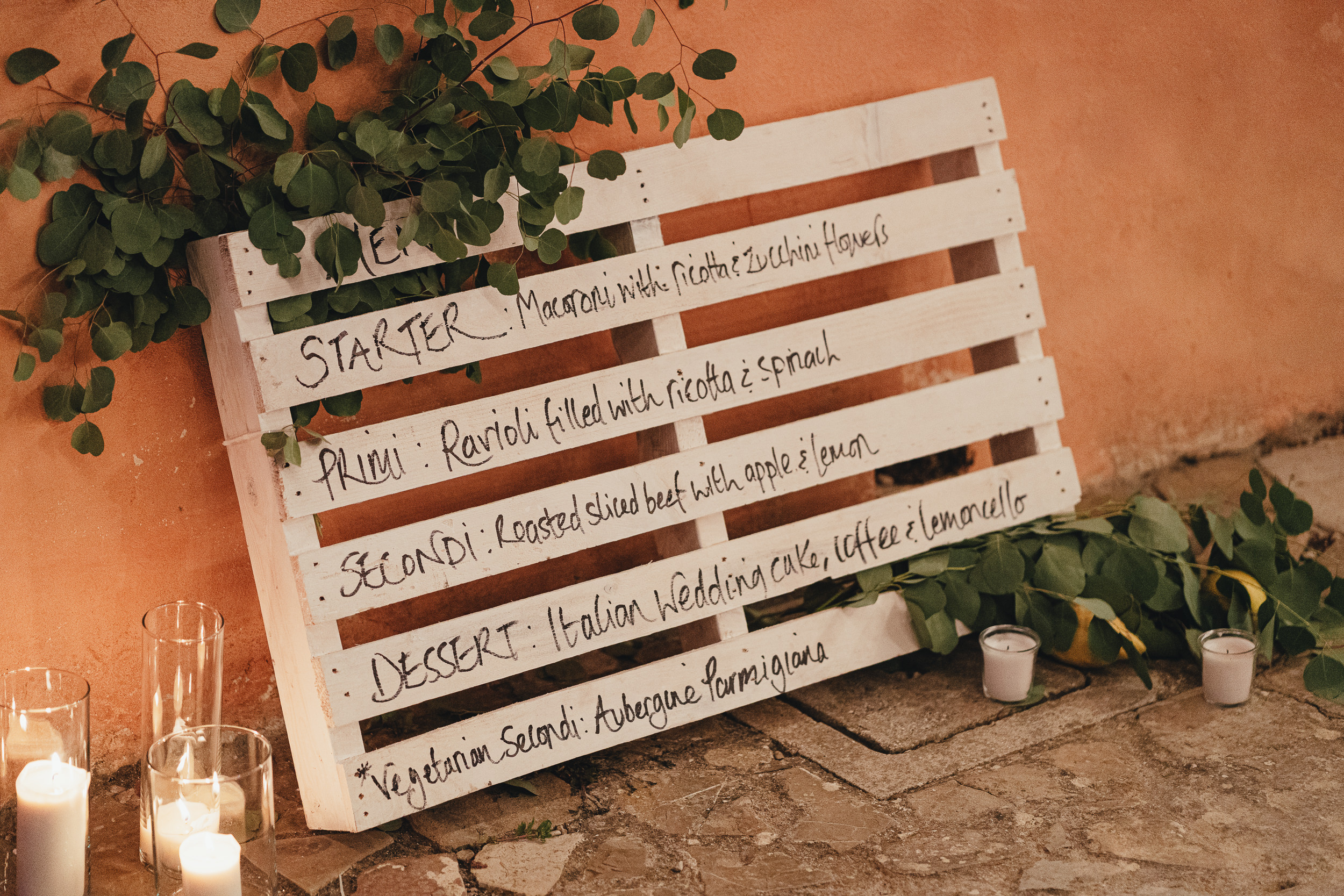 Wedding decor - the Menu