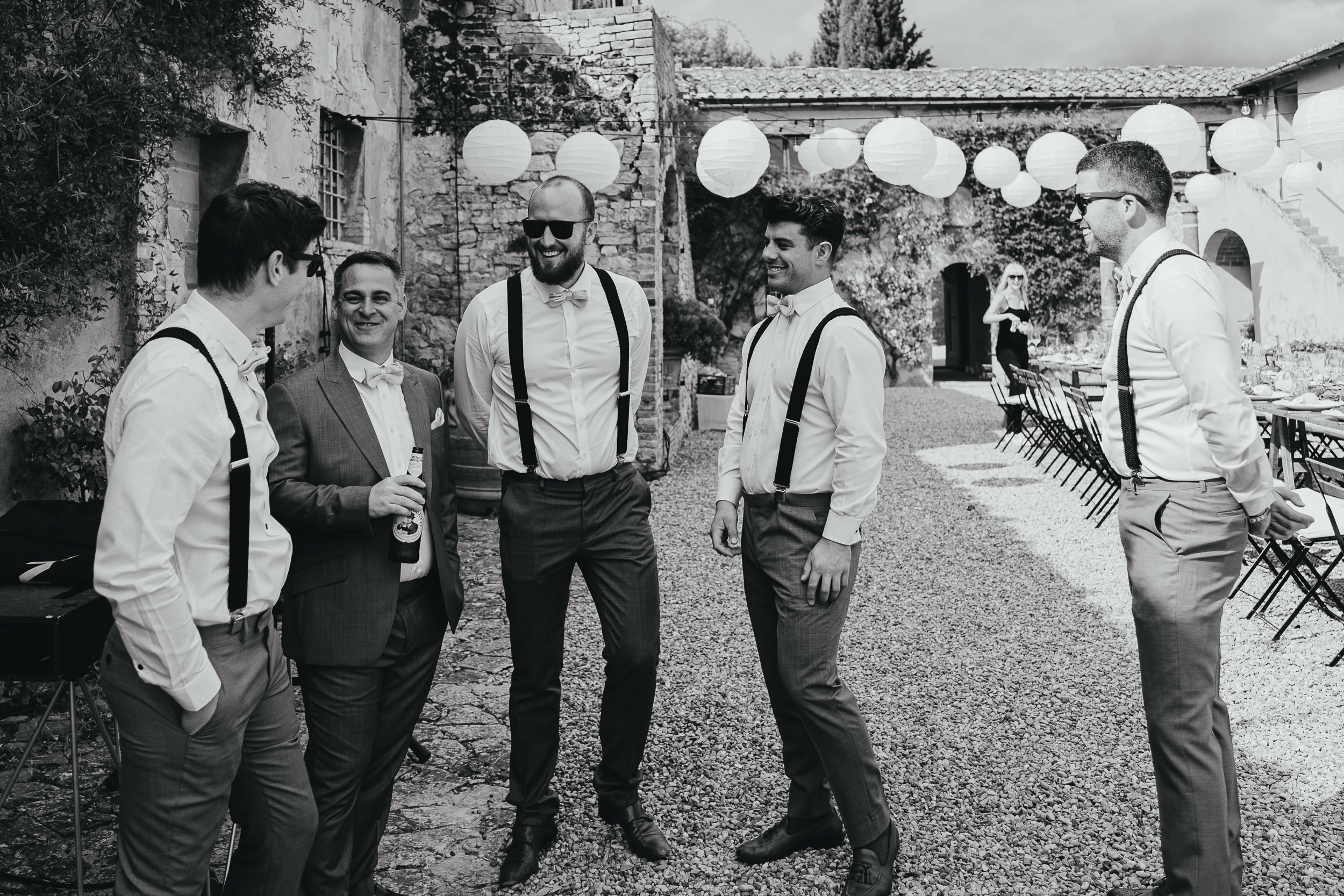 Tuscan Villa Wedding - The Groom's party at Villa Catignano