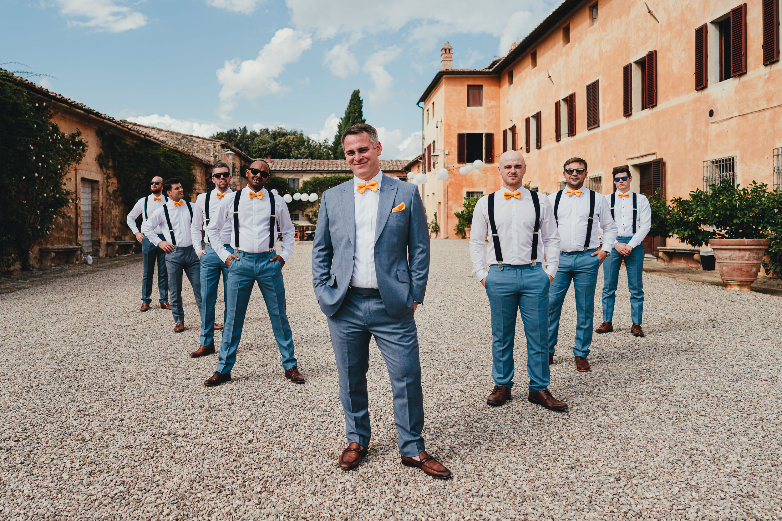 Tuscan Villa Wedding - portrait of the Groom's party