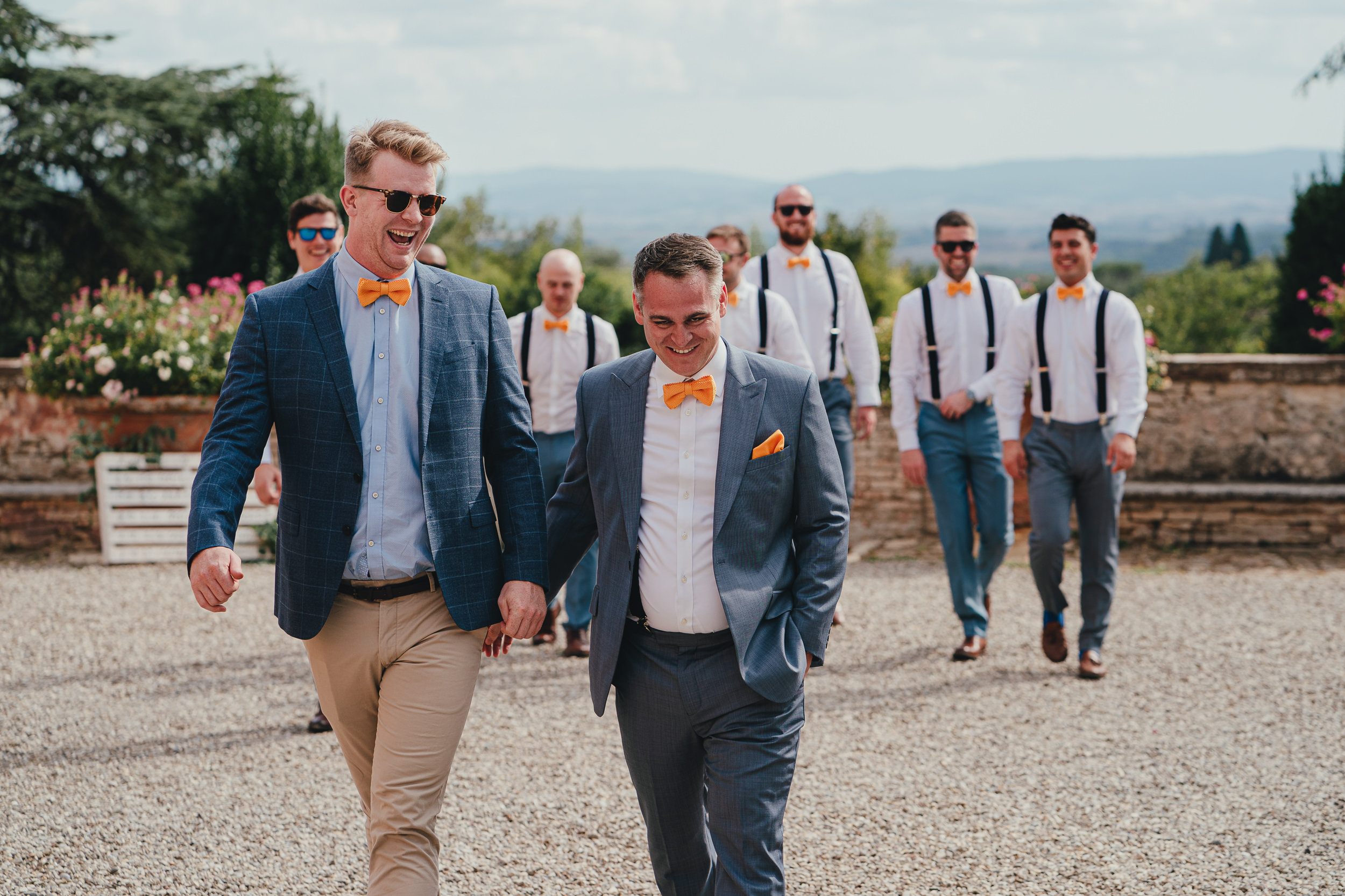 Tuscan Villa Wedding - The Groom and his friends at Villa Catignano