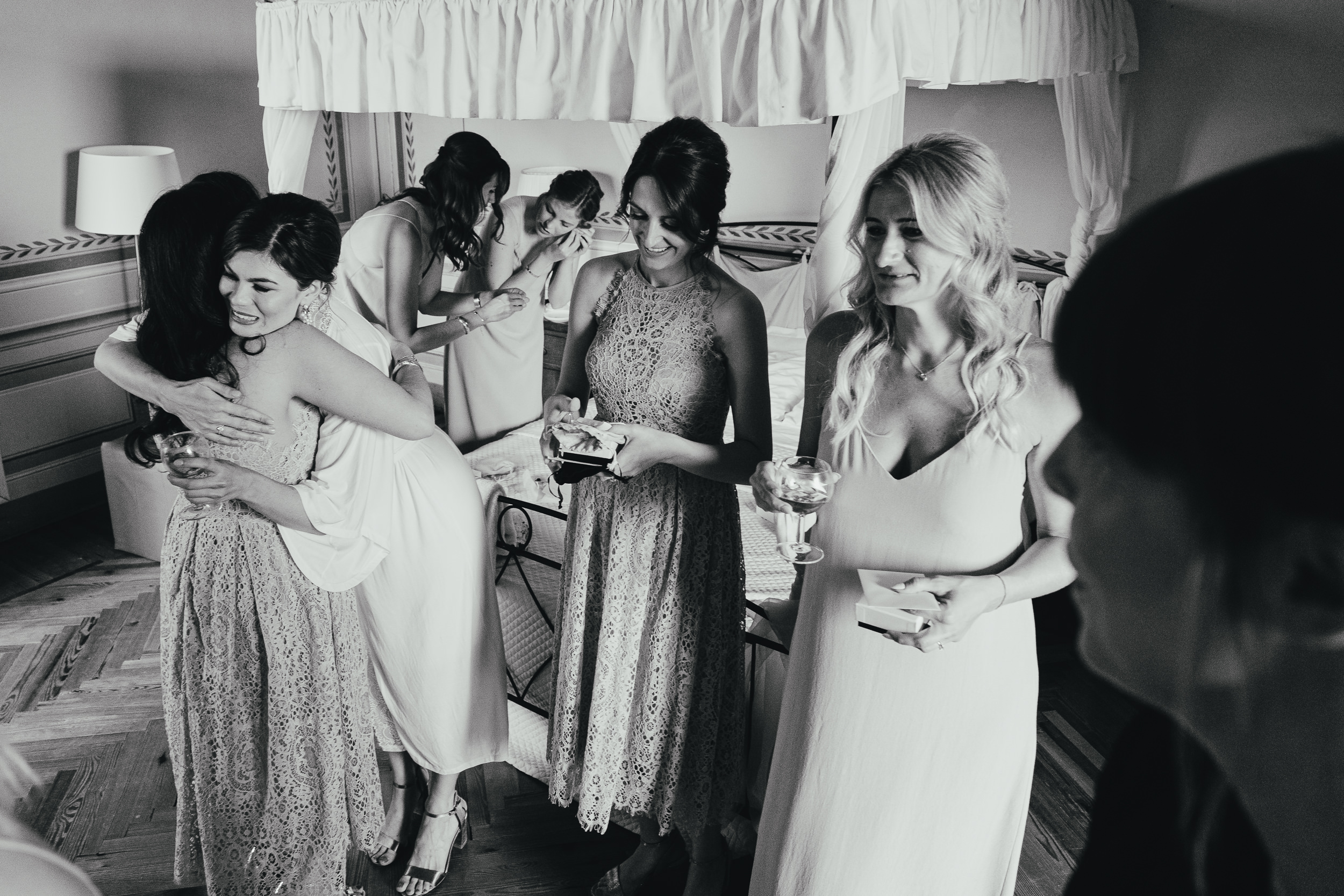 Bridesmaids at bridal prep