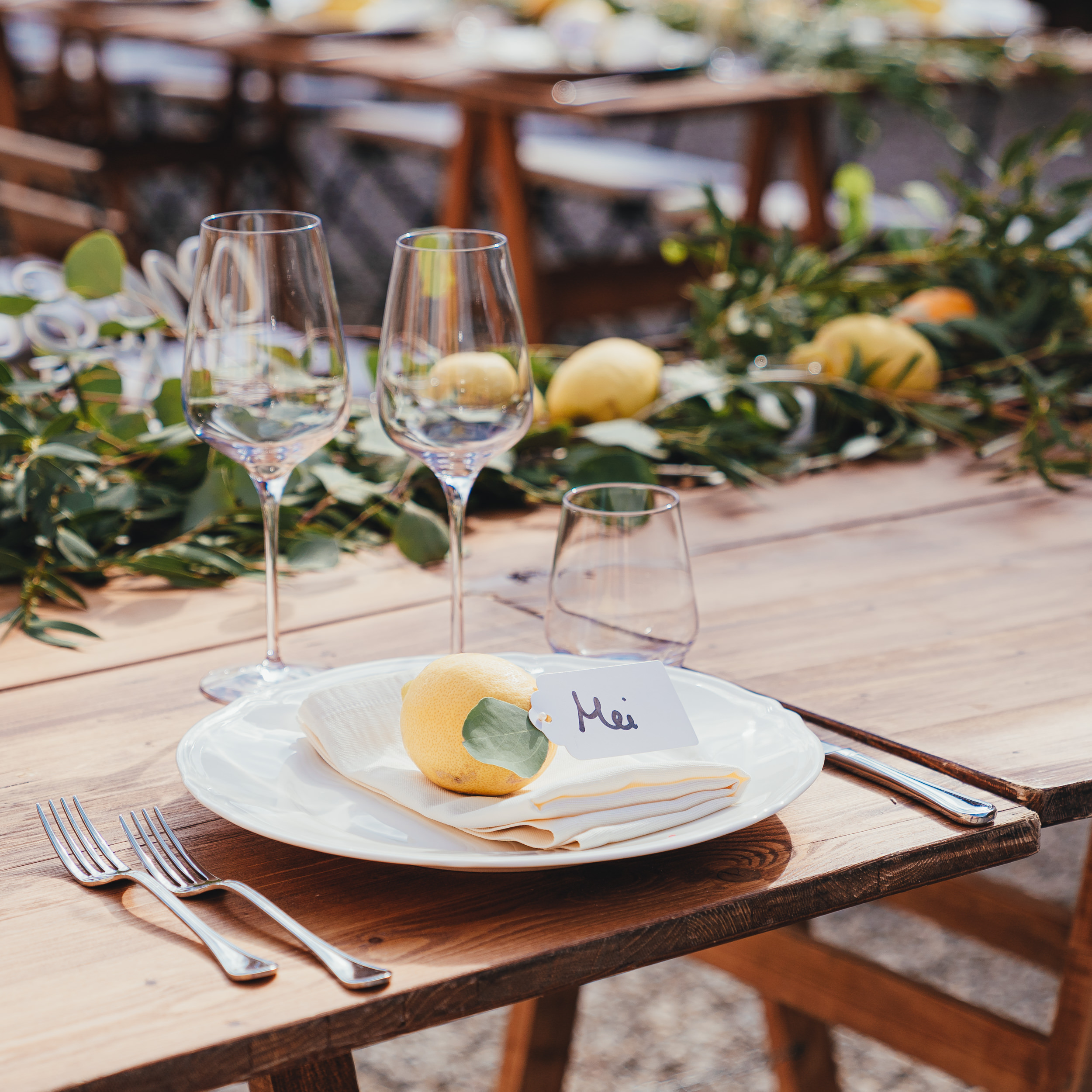 Tuscan Villa Wedding - The table decorations