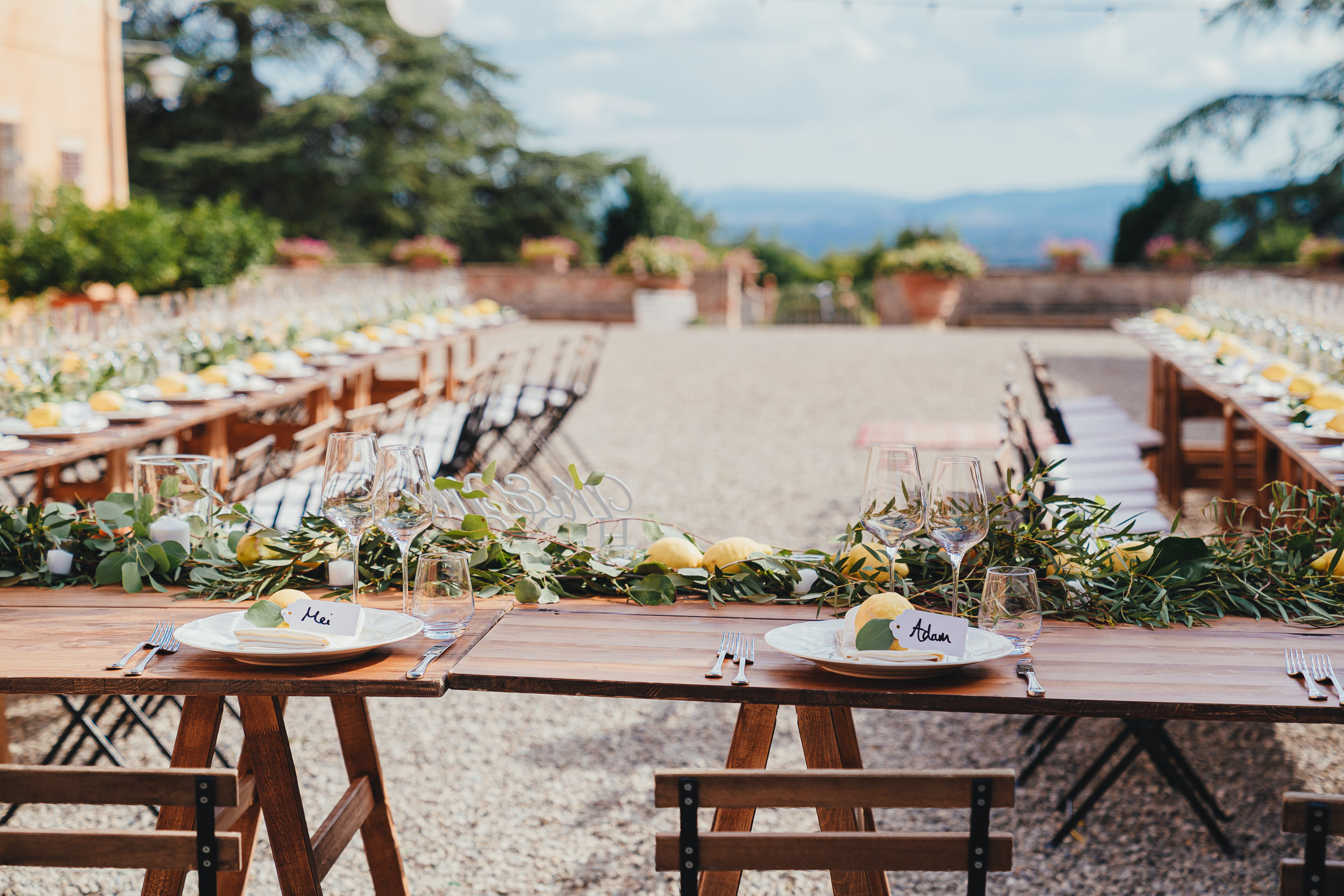 Tuscan Villa Wedding - Photograph of the table decorations