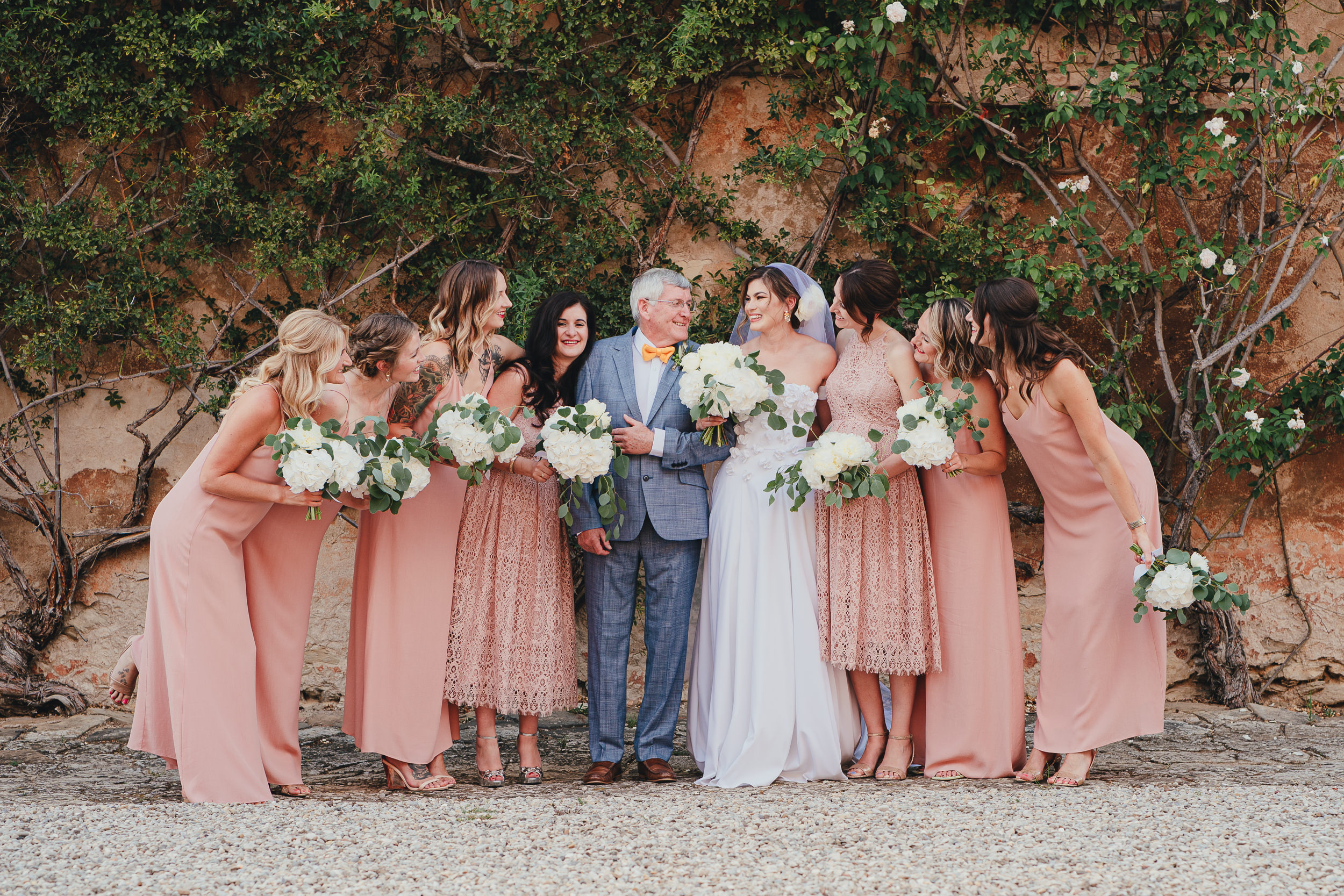 Tuscan Villa Wedding - Group shot of the Bride with her Father and Bridesmaids