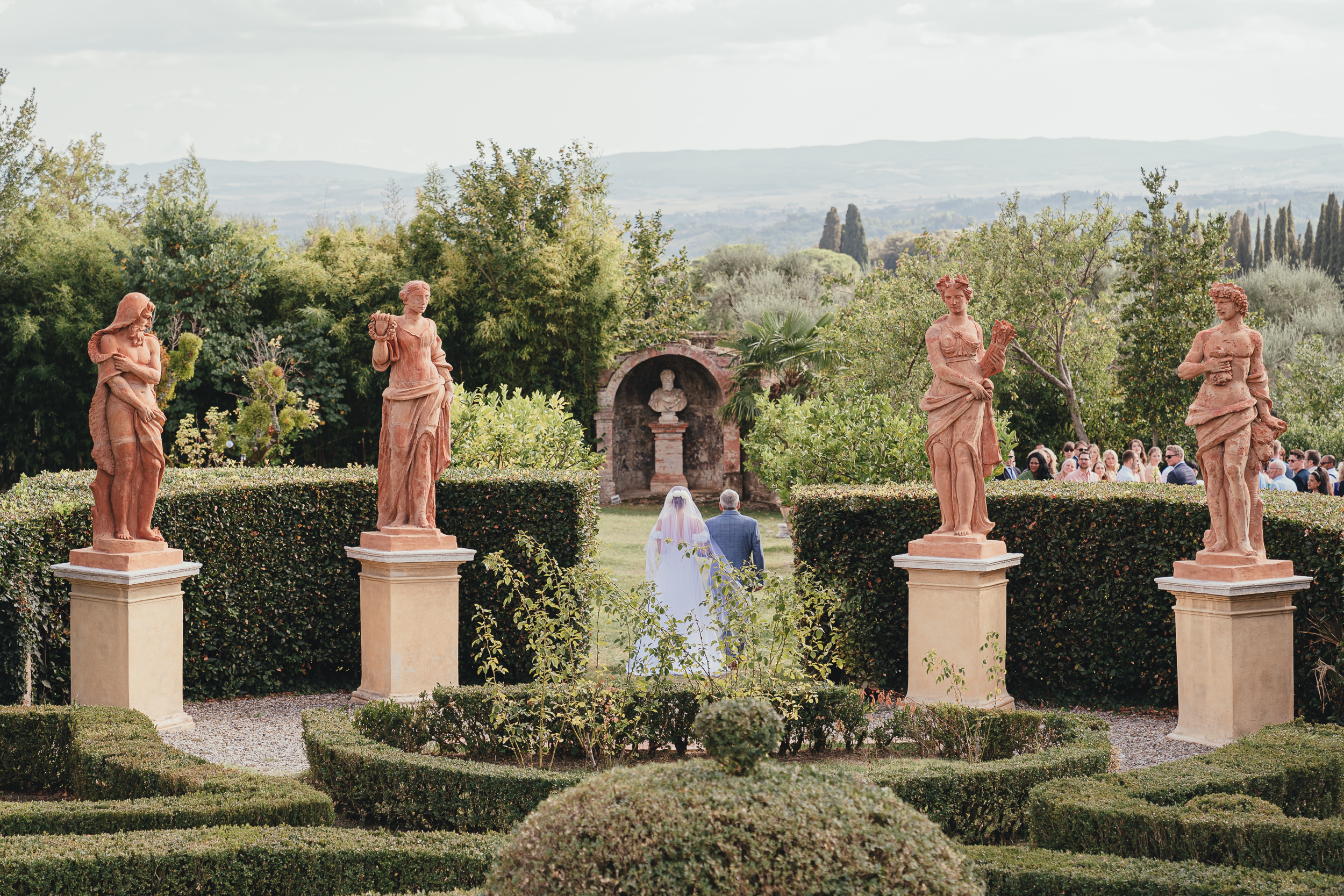 Tuscan Villa Wedding - The Bride enters the ceremony