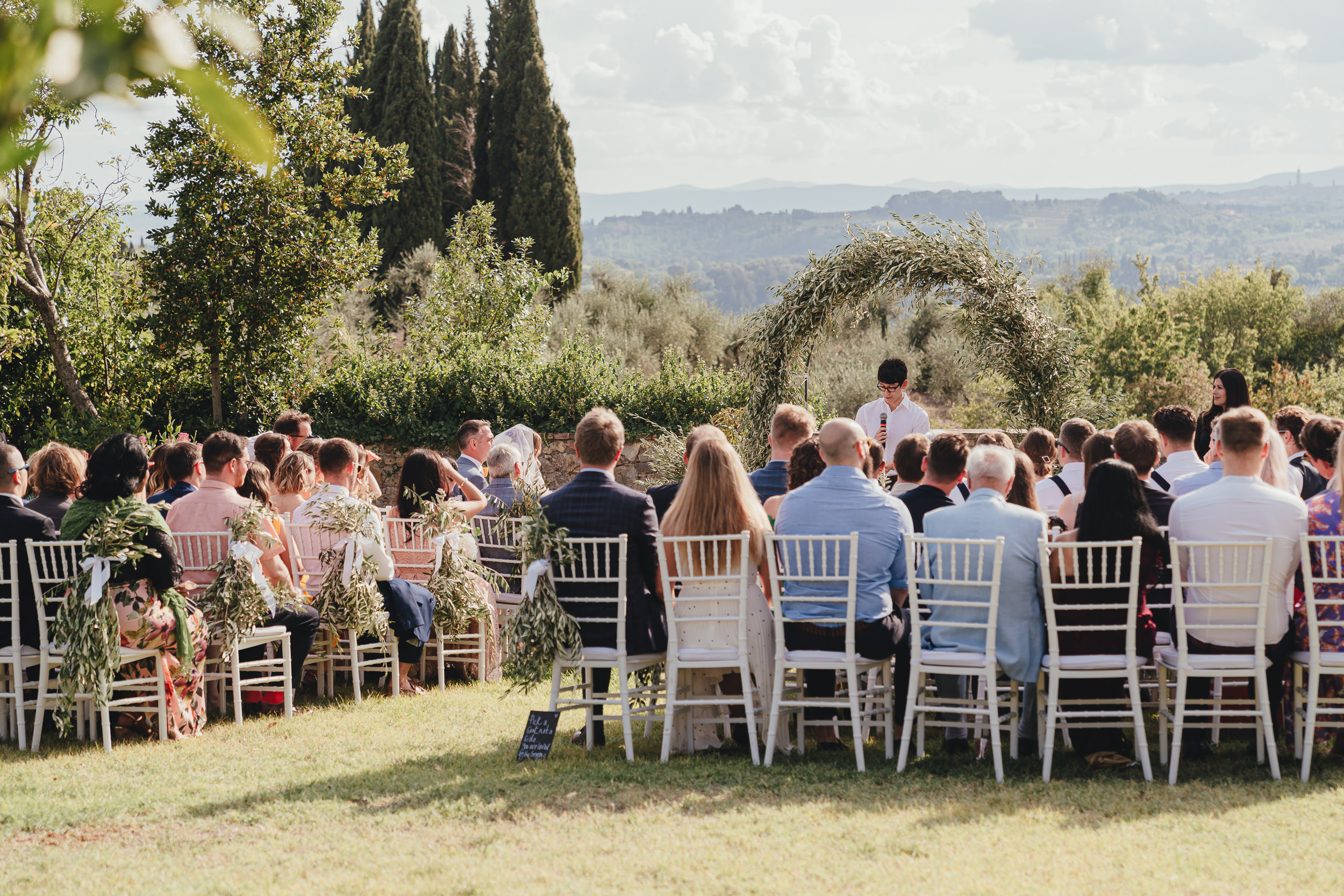 Tuscan Villa Wedding - The Wedding Ceremony in the garden of Villa Catignano