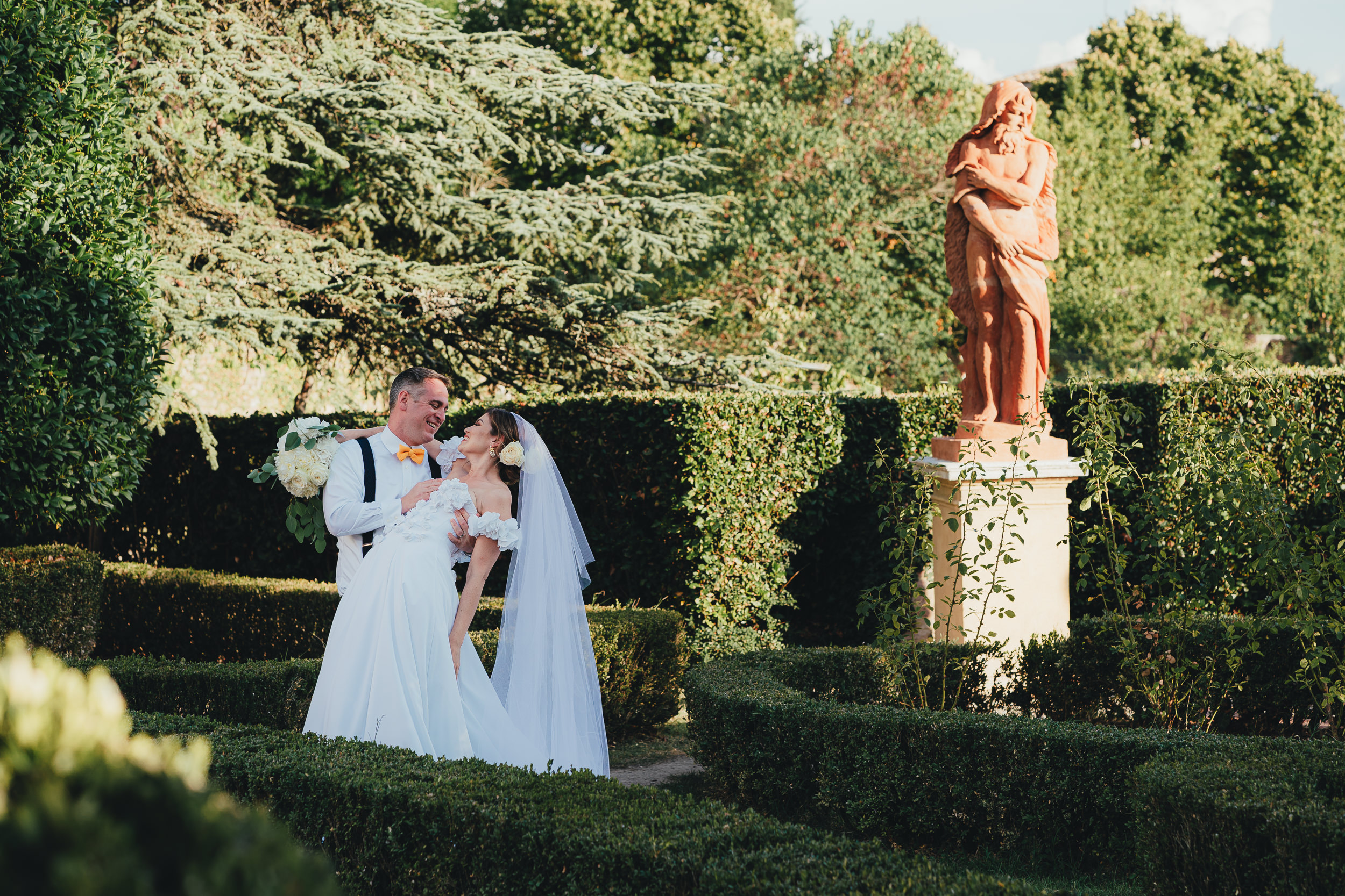 Tuscan Villa Wedding - Portrait of the Bride and Groom in the Italian Garden