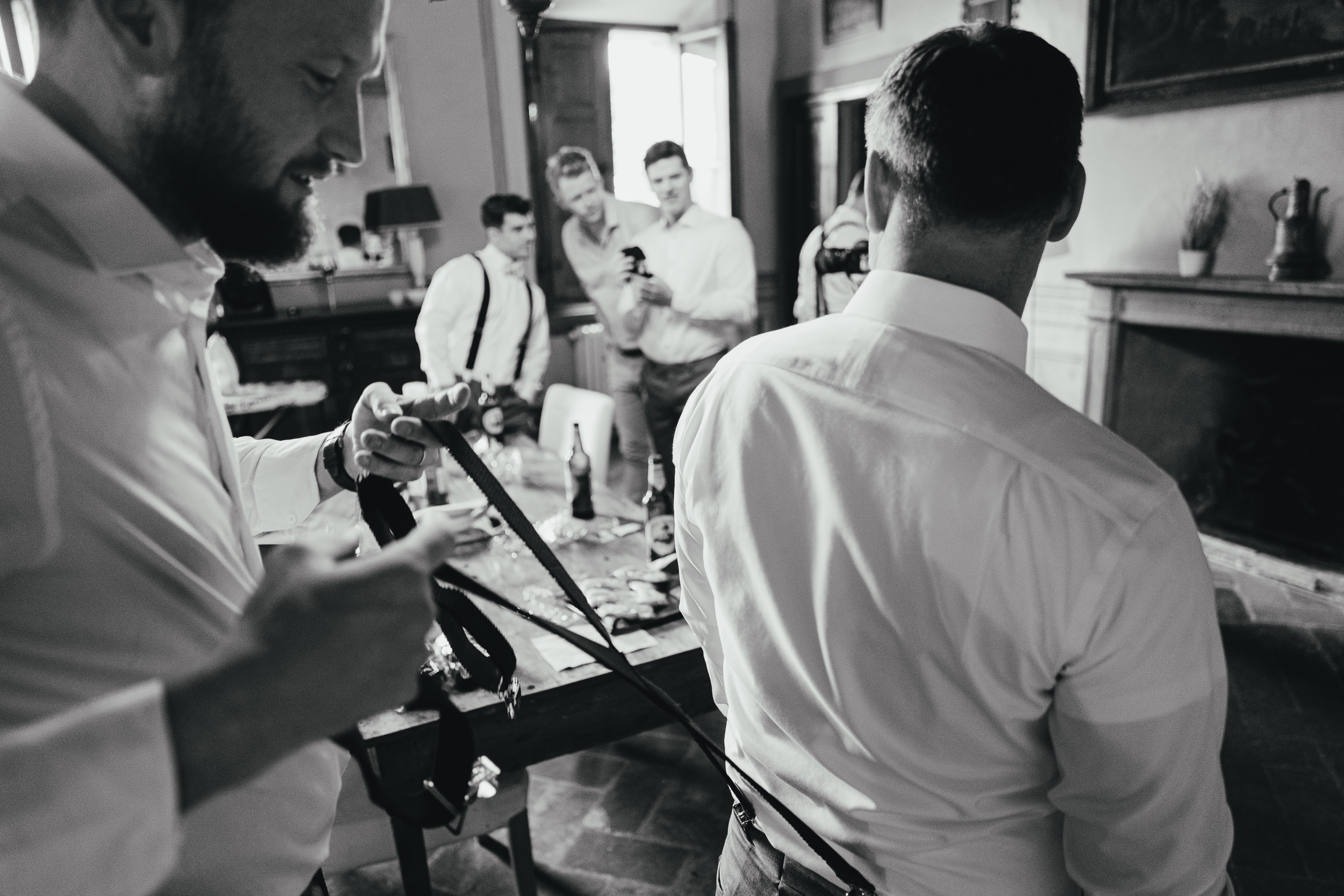 Tuscan Villa Wedding - the Groom getting dressed