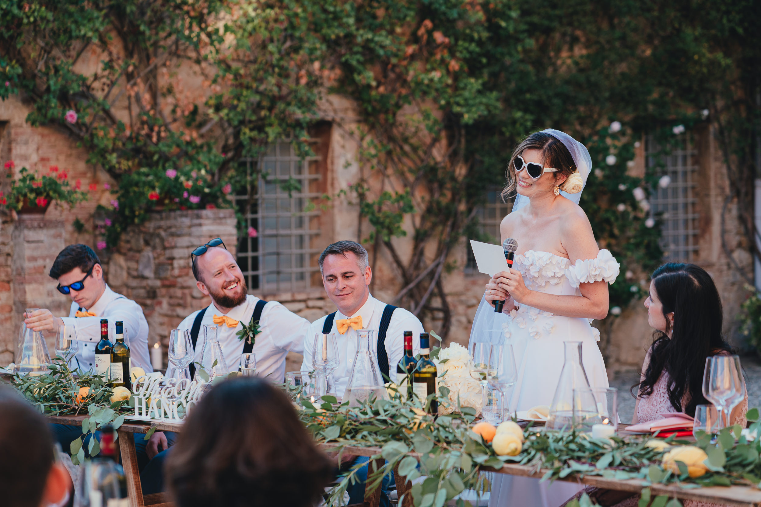 Tuscan Villa Wedding - The Bride gives a speech