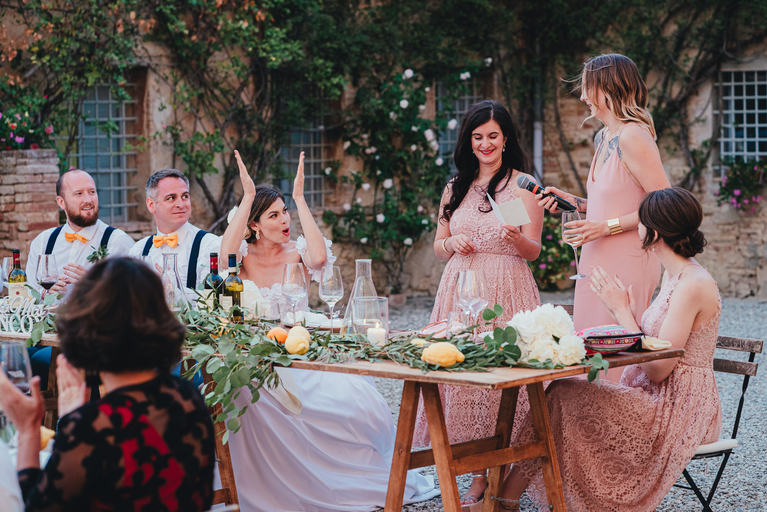 Tuscan Villa Wedding - The Bride applauds the Bridesmaid's speech